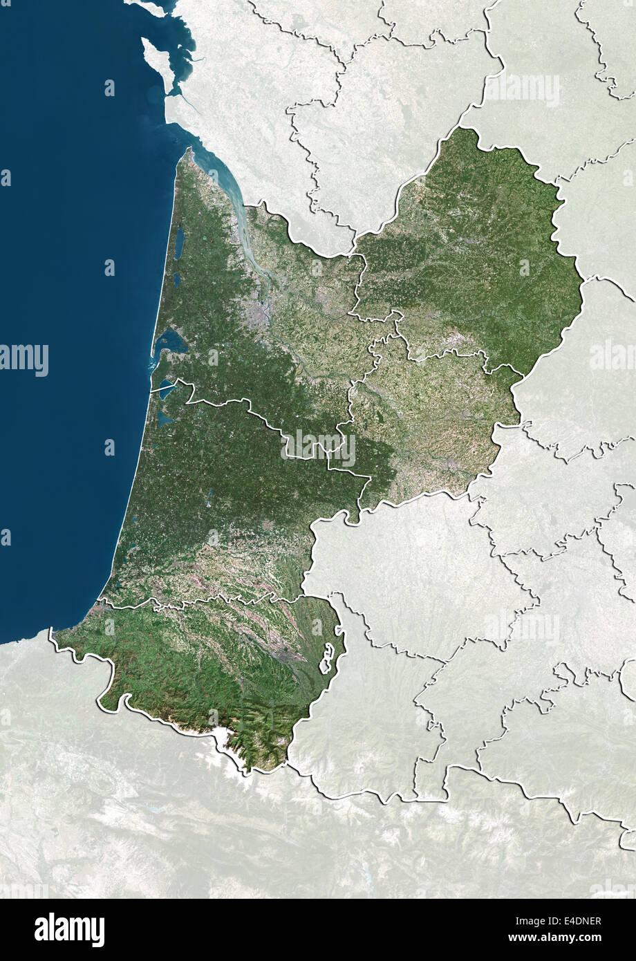 Region Aquitaine France Relief Map Stock Photos Region Aquitaine