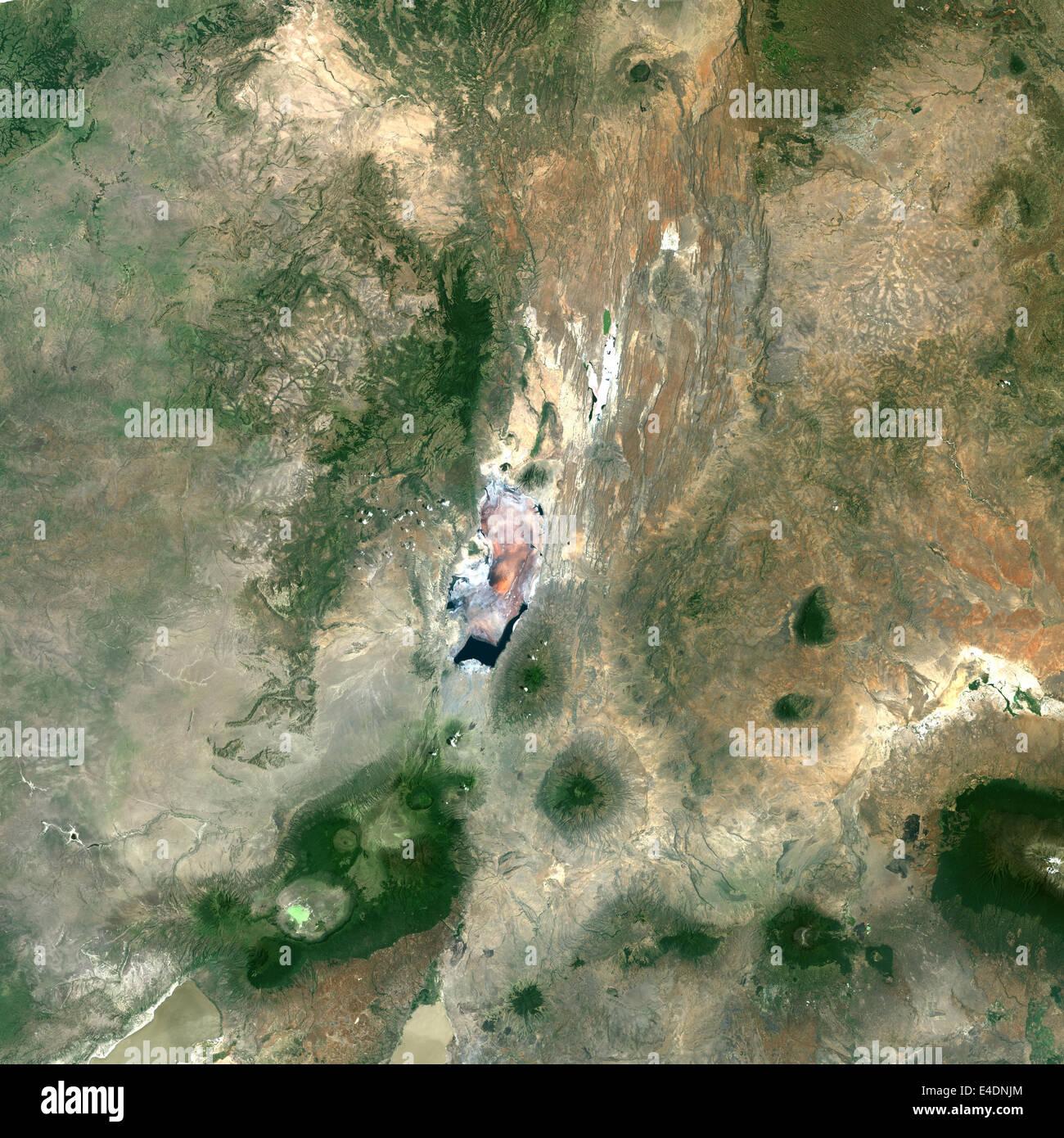 Ol Doinyo Lengai Volcano, Tanzania, True Colour Satellite Image. Lengai, Tanzanie, true colour satellite image. - Stock Image