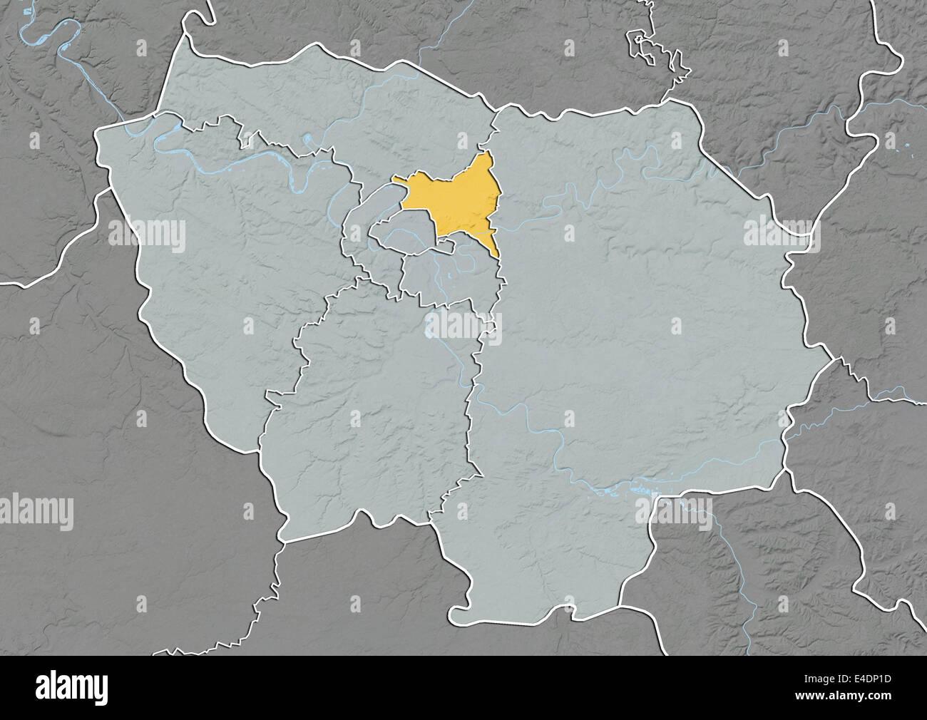 Saint Denis France Map.Departement Of Seine Saint Denis France Relief Map Stock Photo