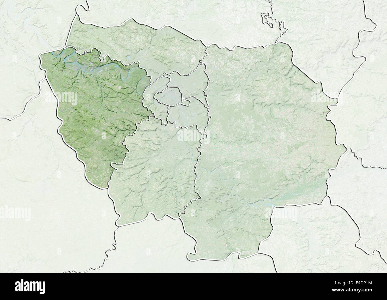 Map Of Yvelines France.Departement Of Yvelines France Relief Map Stock Photo 71602768
