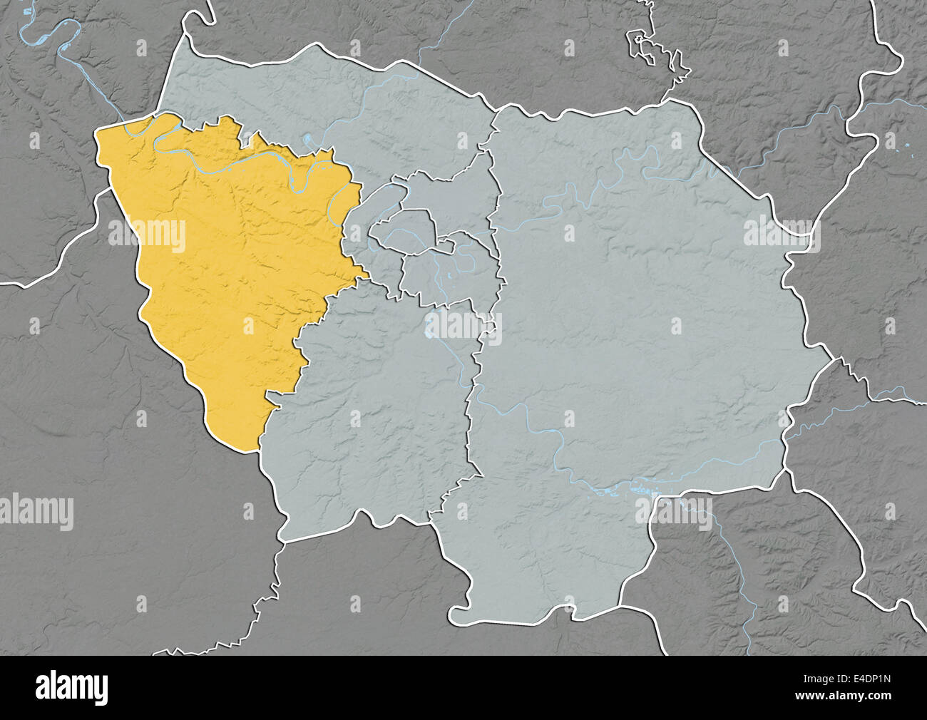 Map Of Yvelines France.Departement Of Yvelines France Relief Map Stock Photo 71602769