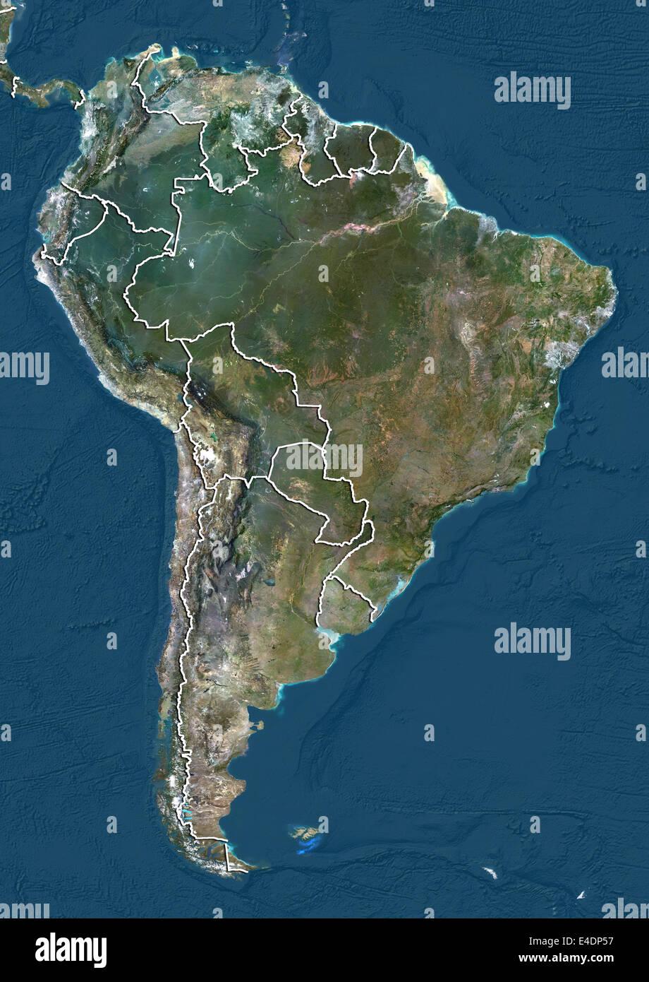 South America Satellite Map on