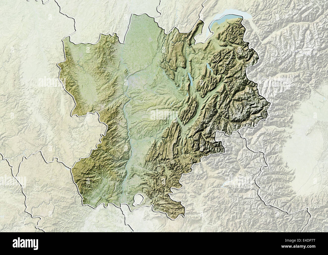 Region Of Rhone Alpes France Relief Map Stock Photo Alamy