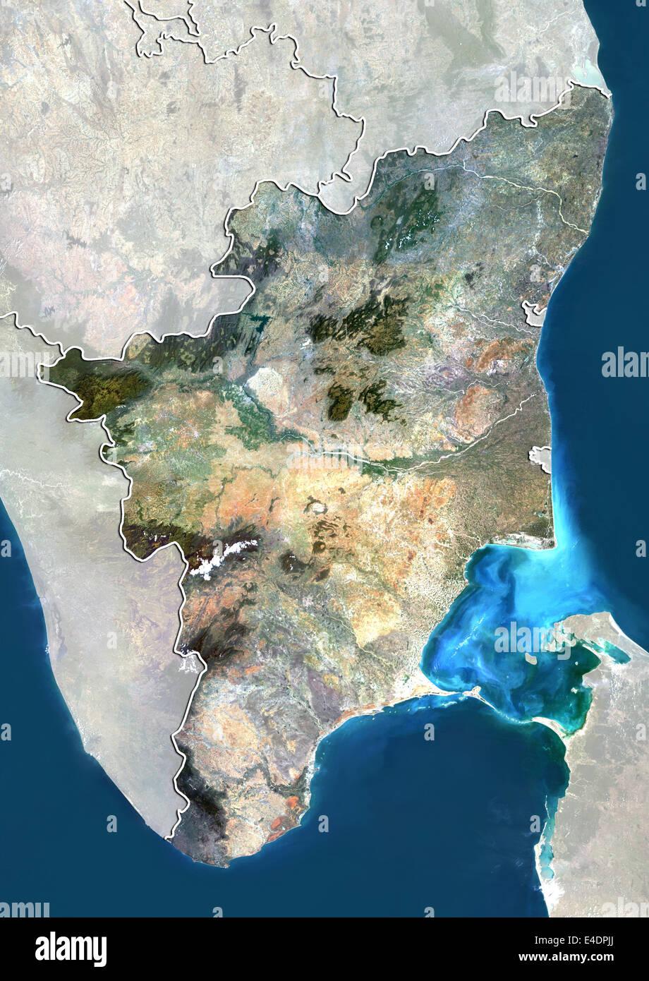 Tamilnadu Satellite Map State of Tamil Nadu, India, True Colour Satellite Image Stock  Tamilnadu Satellite Map