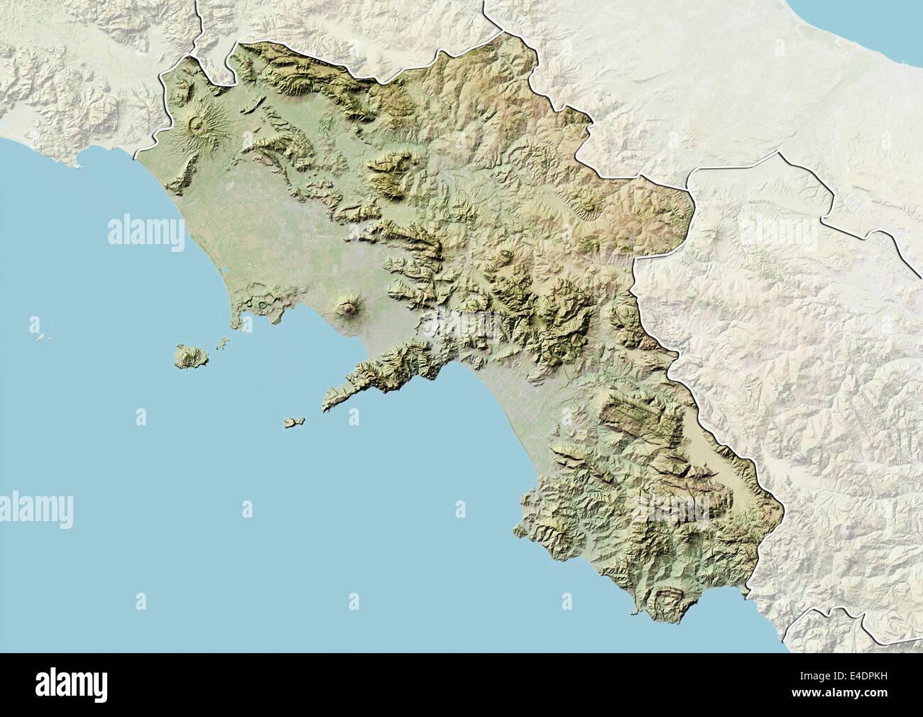 Region of Campania, Italy, Relief Map Stock Photo: 71603269 - Alamy