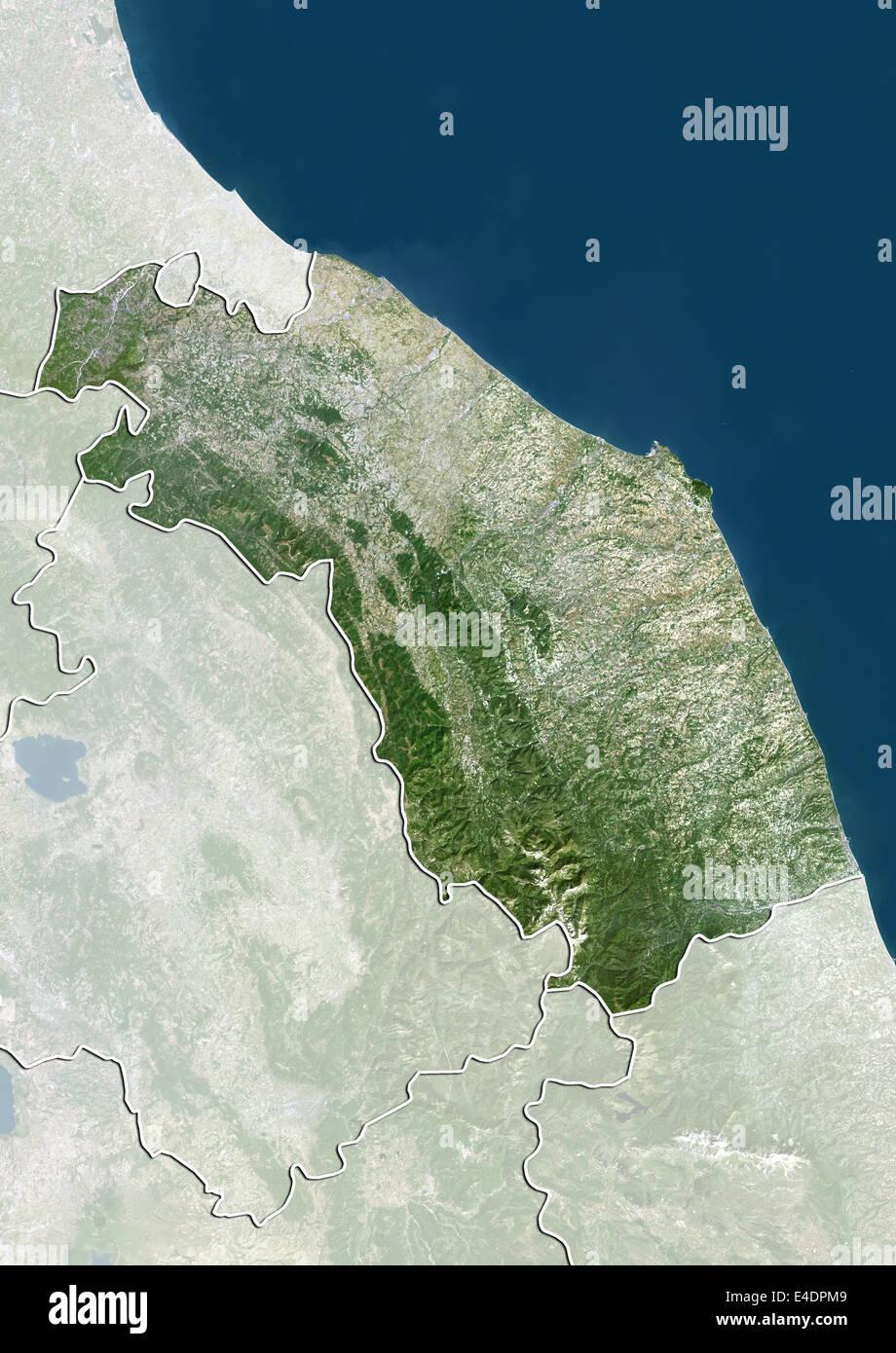 Marche Cartina.Region Of Marche Italy True Colour Satellite Image Stock Photo Alamy