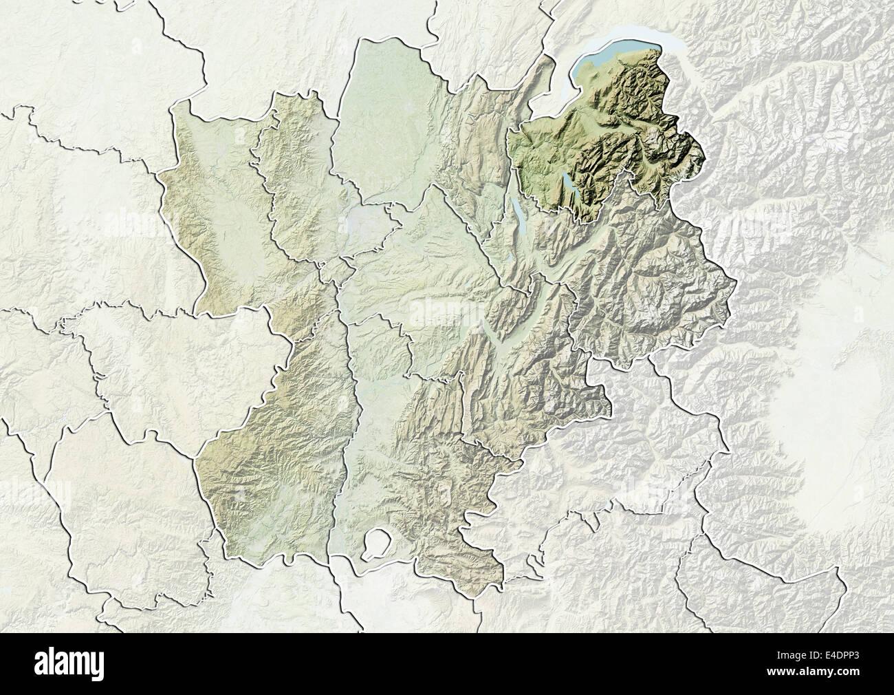 Departement of Haute-Savoie, France, Relief Map Stock Photo