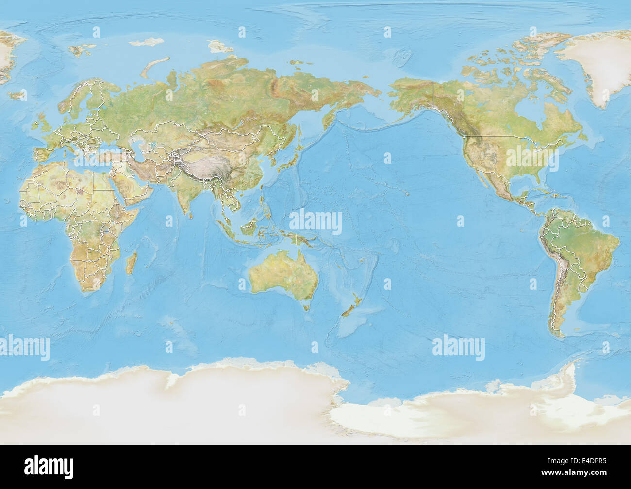World map centred on pacific ocean with country borders stock photo world map centred on pacific ocean with country borders gumiabroncs Choice Image