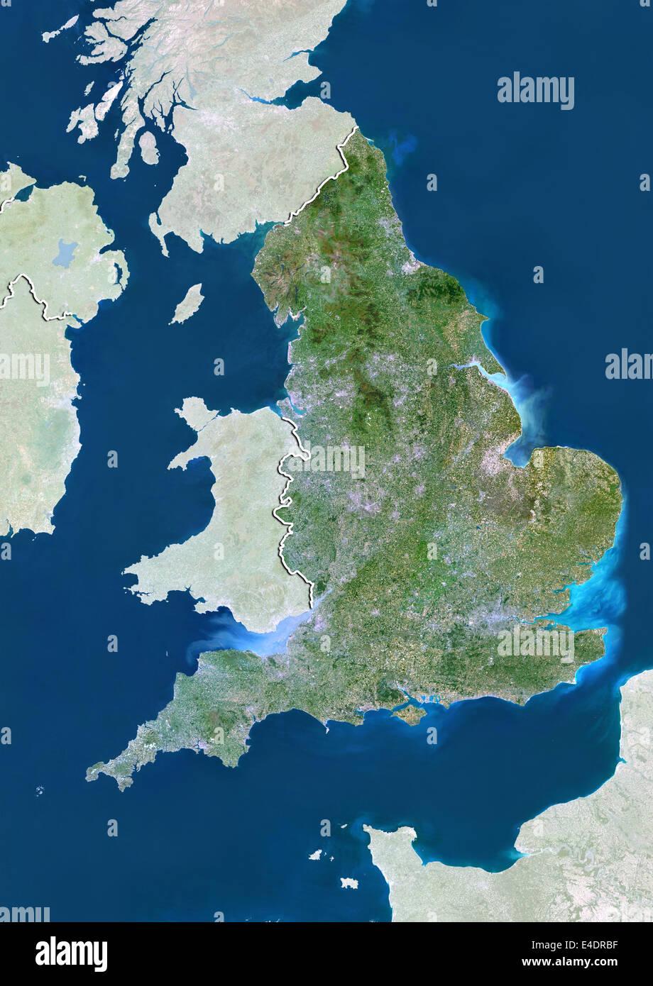 England, United Kingdom, True Colour Satellite Image Stock Photo