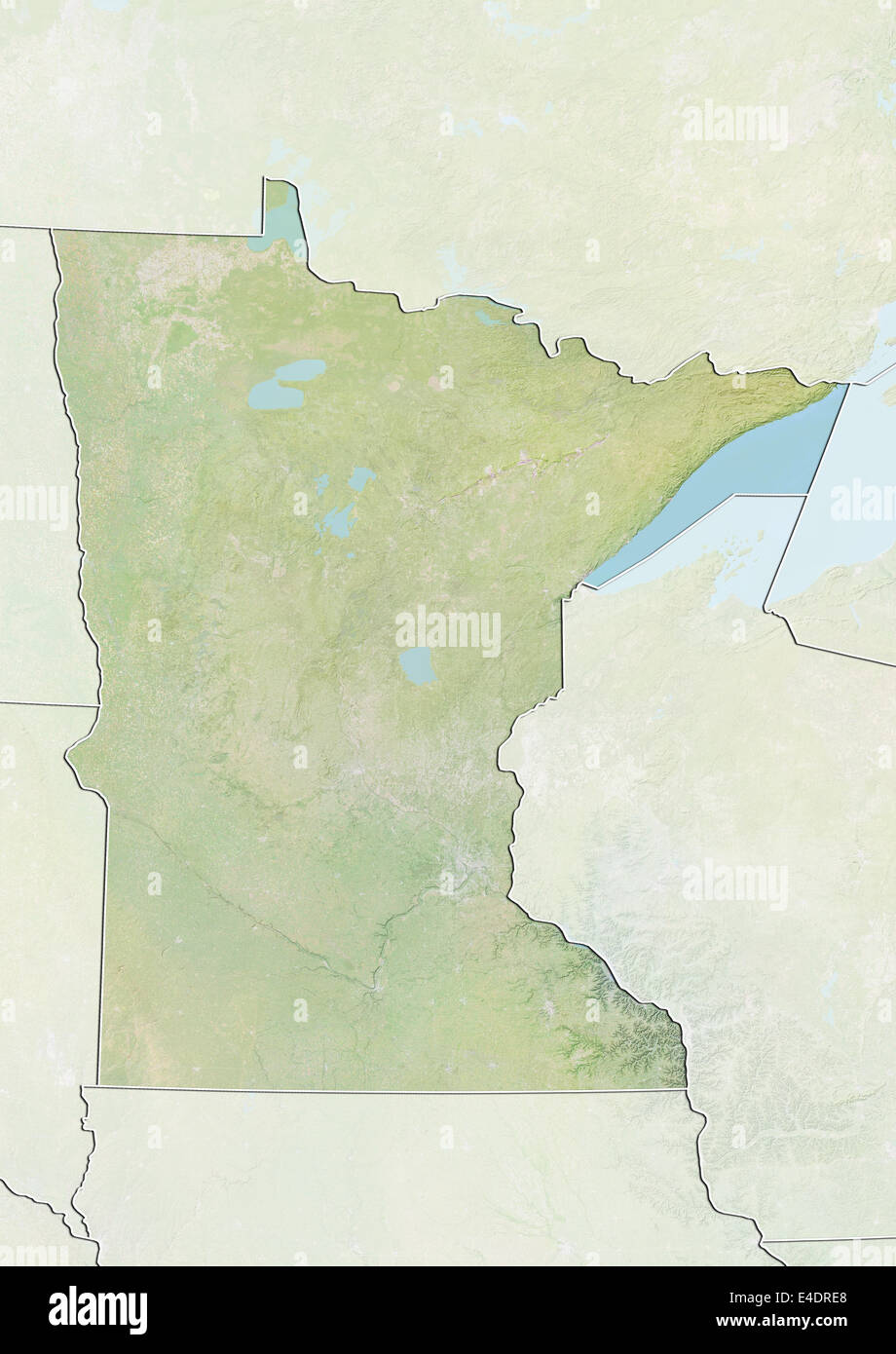 State Of Minnesota United States Relief Map Stock Photo