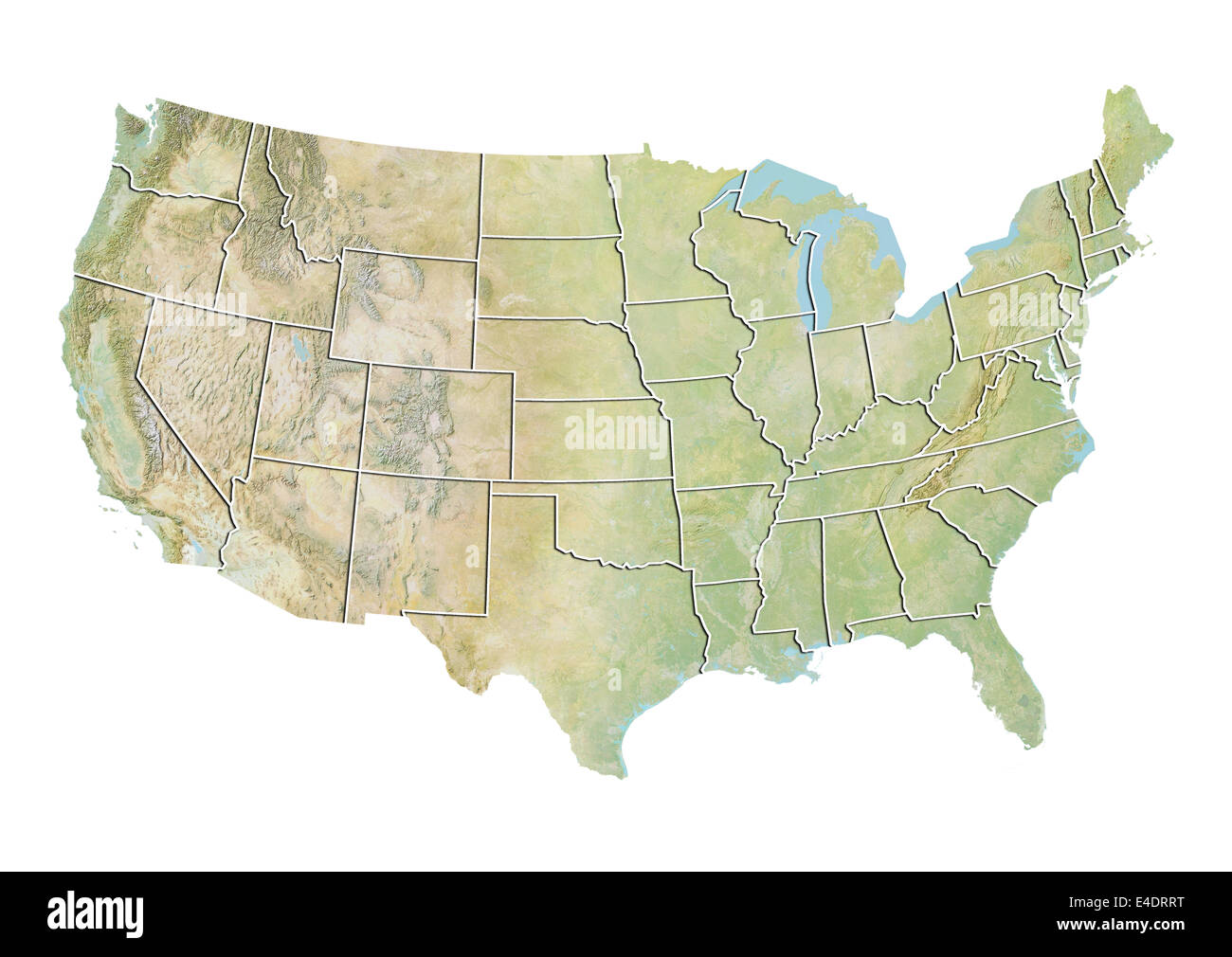 United States, Relief Map With State Boundaries Stock Photo ...