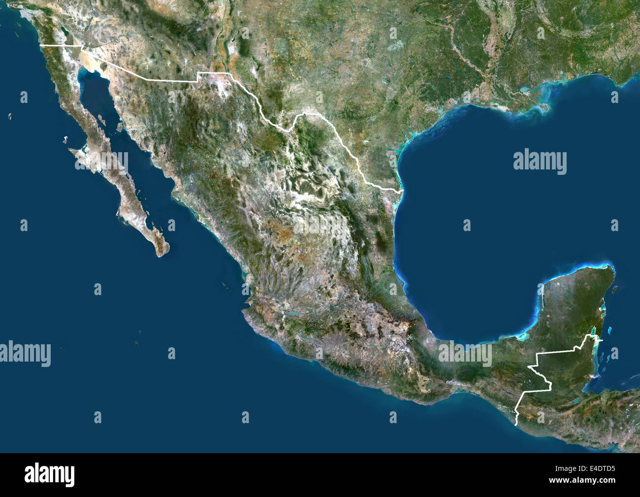 mexico north america true colour satellite image with border satellite view of mexico with border this image was compiled