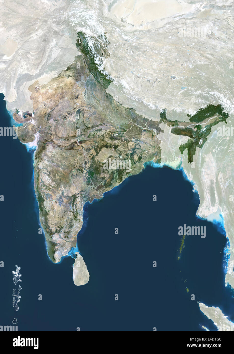 India, True Colour Satellite Image With Mask. India, true colour satellite image with mask This image was compiled - Stock Image