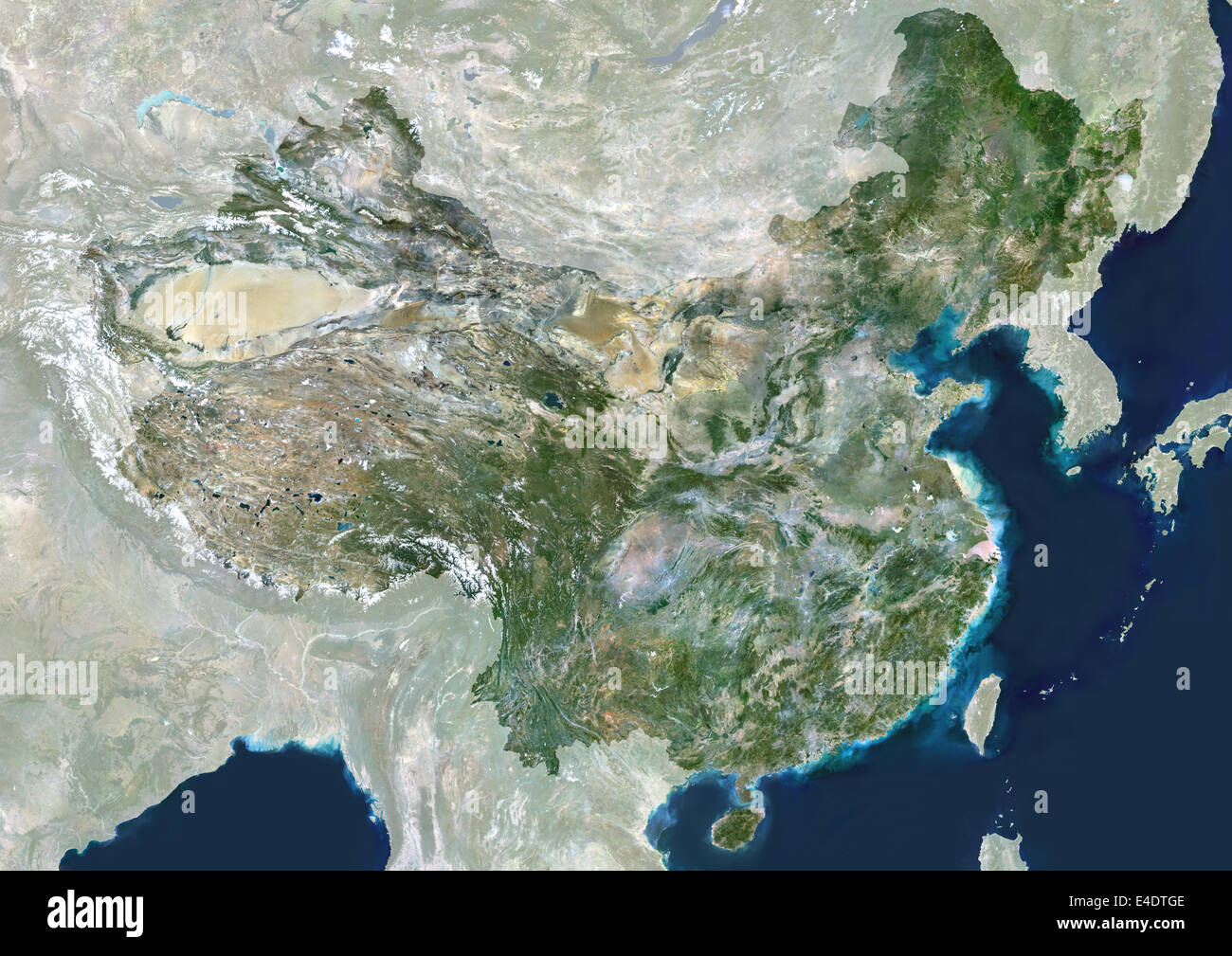 China, True Colour Satellite Image With Mask. People's Republic of China, true colour satellite image with mask. - Stock Image