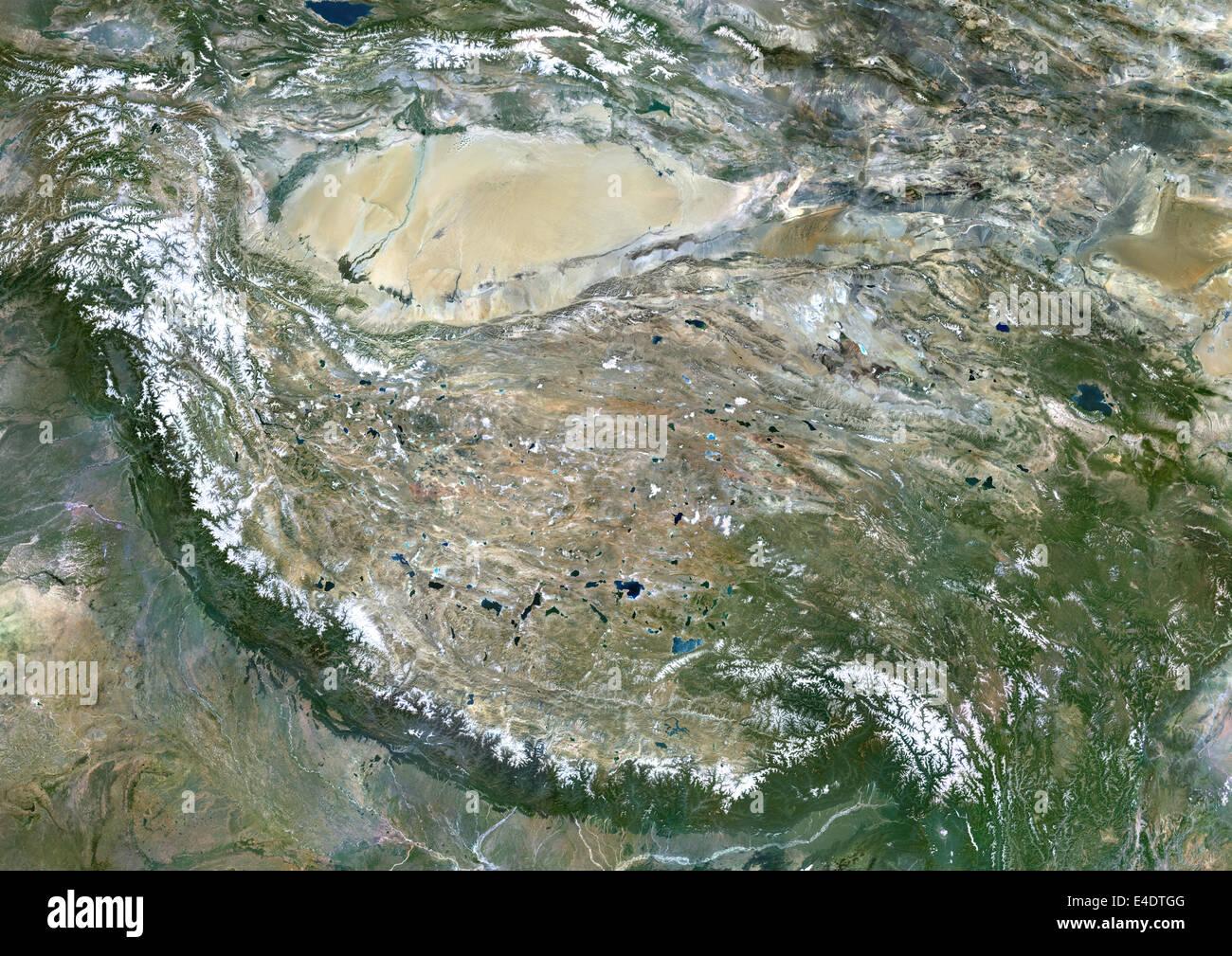 Tibet, China, True Colour Satellite Image. Tibet, People's Republic of China, true colour satellite image. This - Stock Image