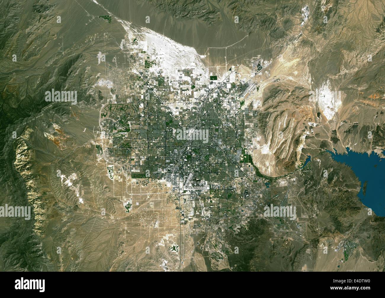 Las Vegas Nevada Usa True Colour Satellite Image Las Vegas Stock Photo Alamy