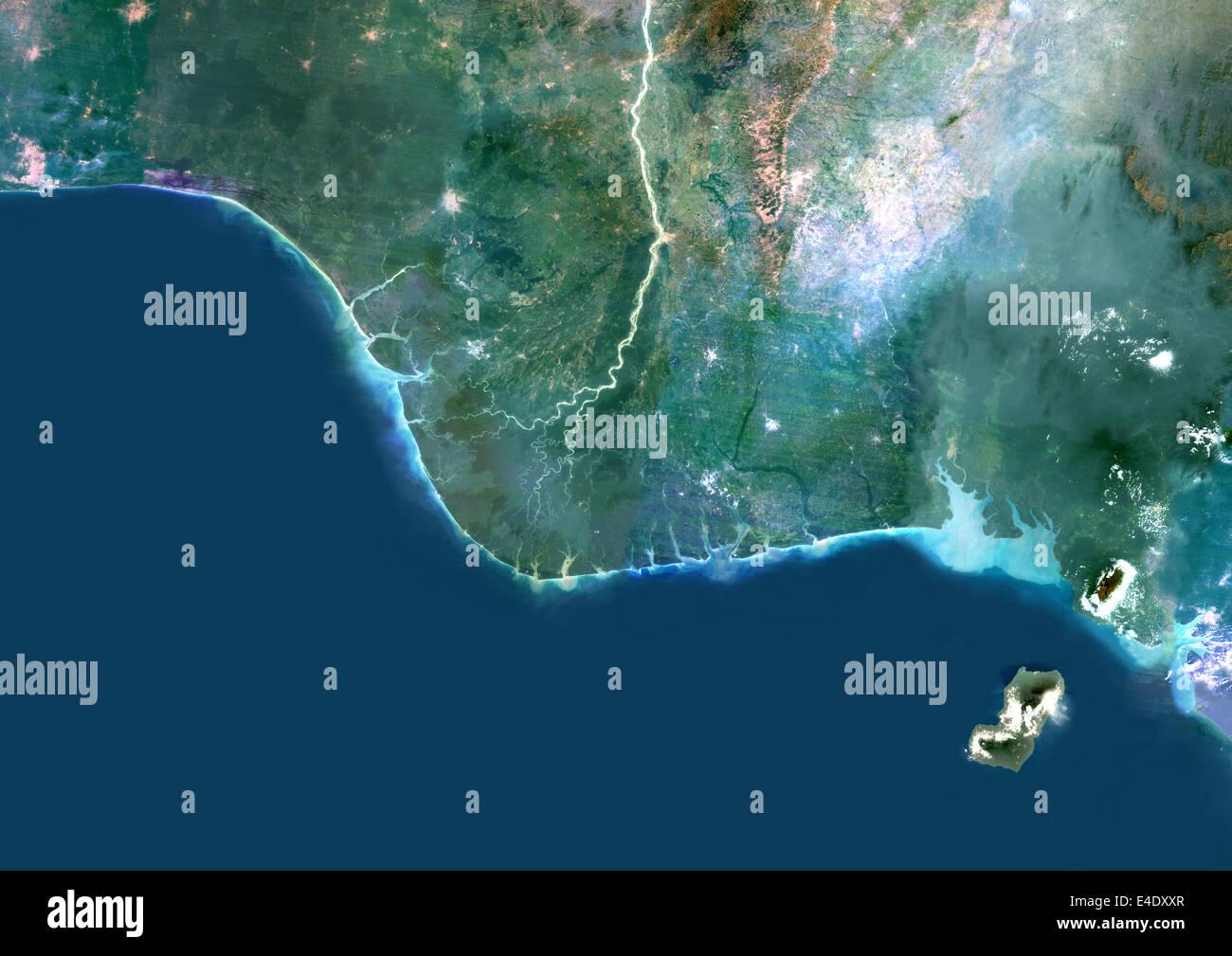 Niger River Delta, Nigeria, True Colour Satellite Image. True colour satellite image of the Niger River Delta in - Stock Image