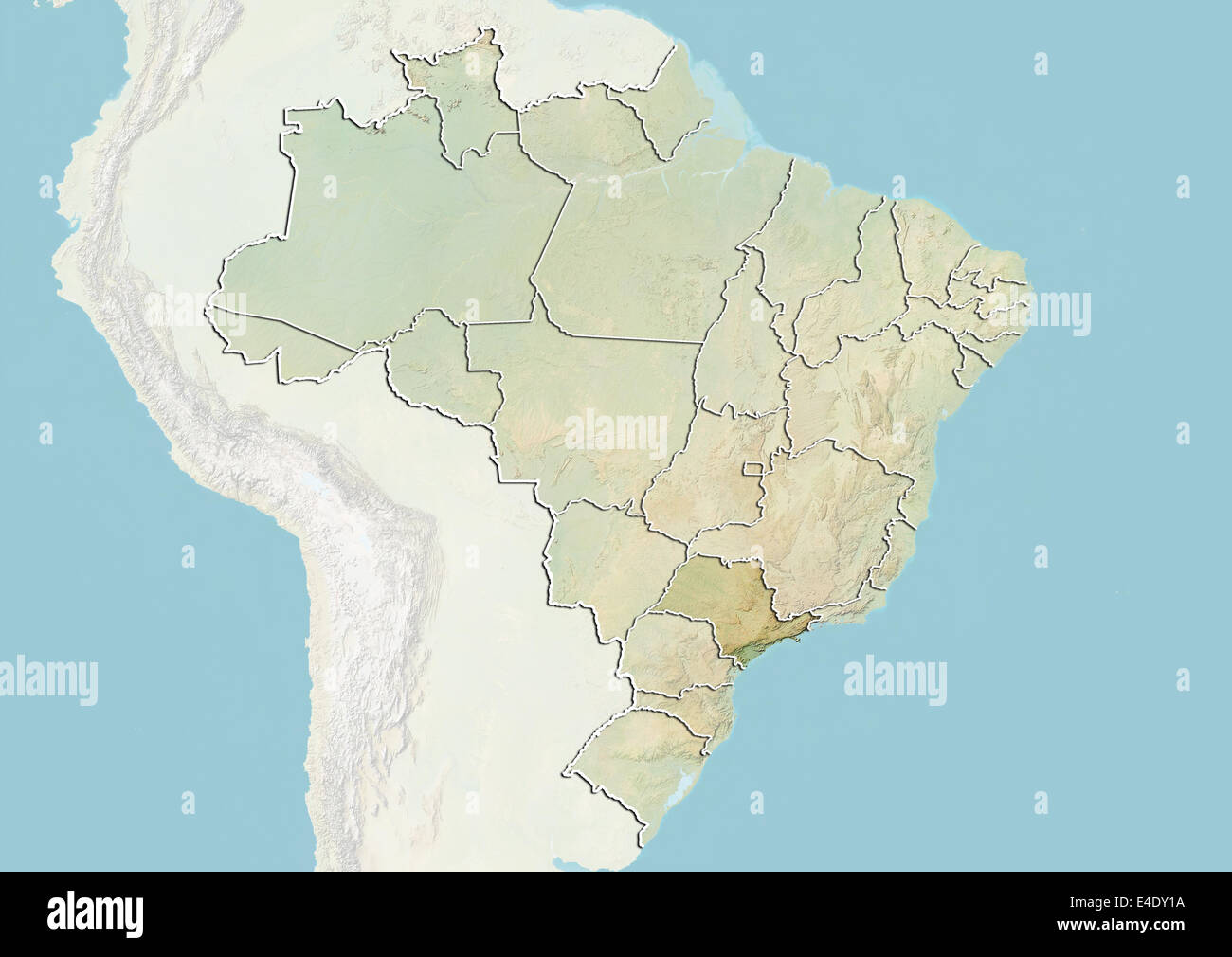 Sao Paulo State Map.Brazil And The State Of Sao Paulo Relief Map Stock Photo 71606678