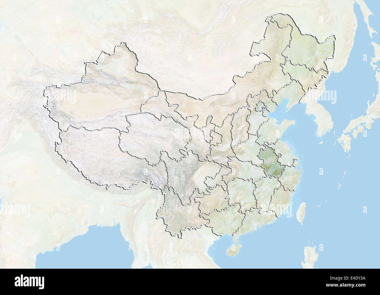 China And The Province Of Anhui Relief Map Stock Photo 71606734
