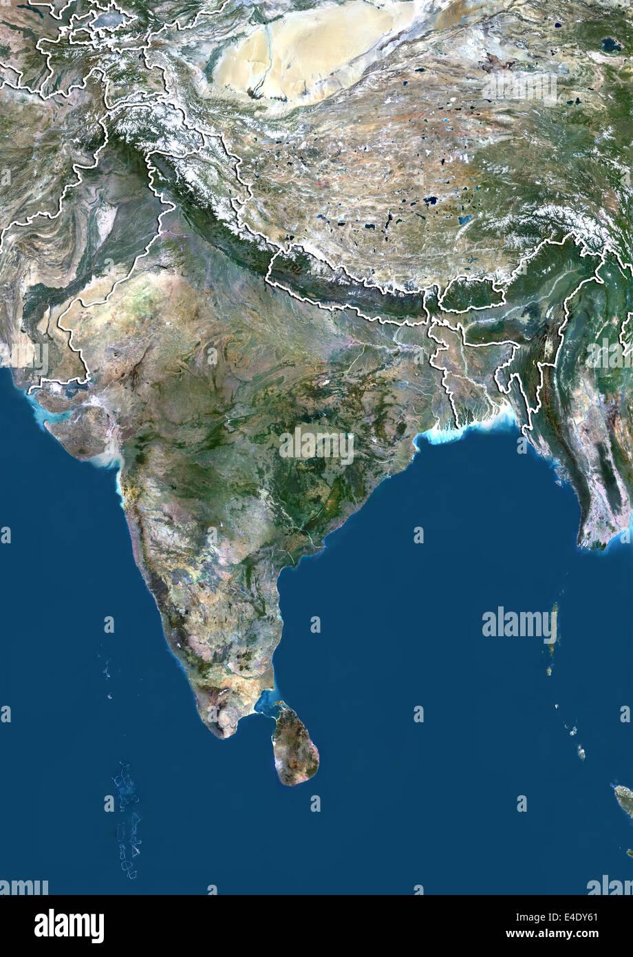 India, True Colour Satellite Image With Border - Stock Image