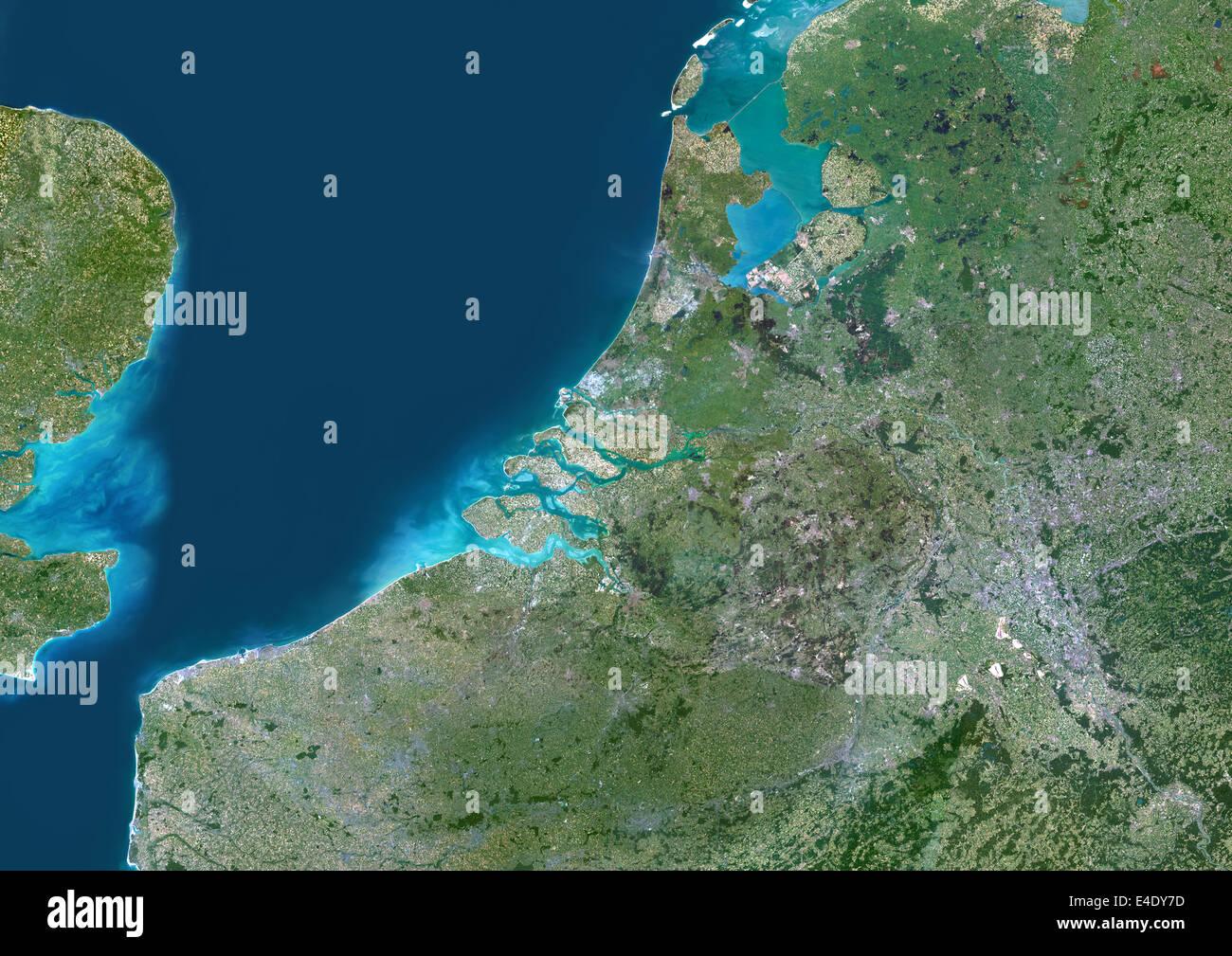 Rhine, Meuse And Scheldt Delta, Netherlands, True Colour Satellite Image. True colour satellite image of the Rhine - Stock Image