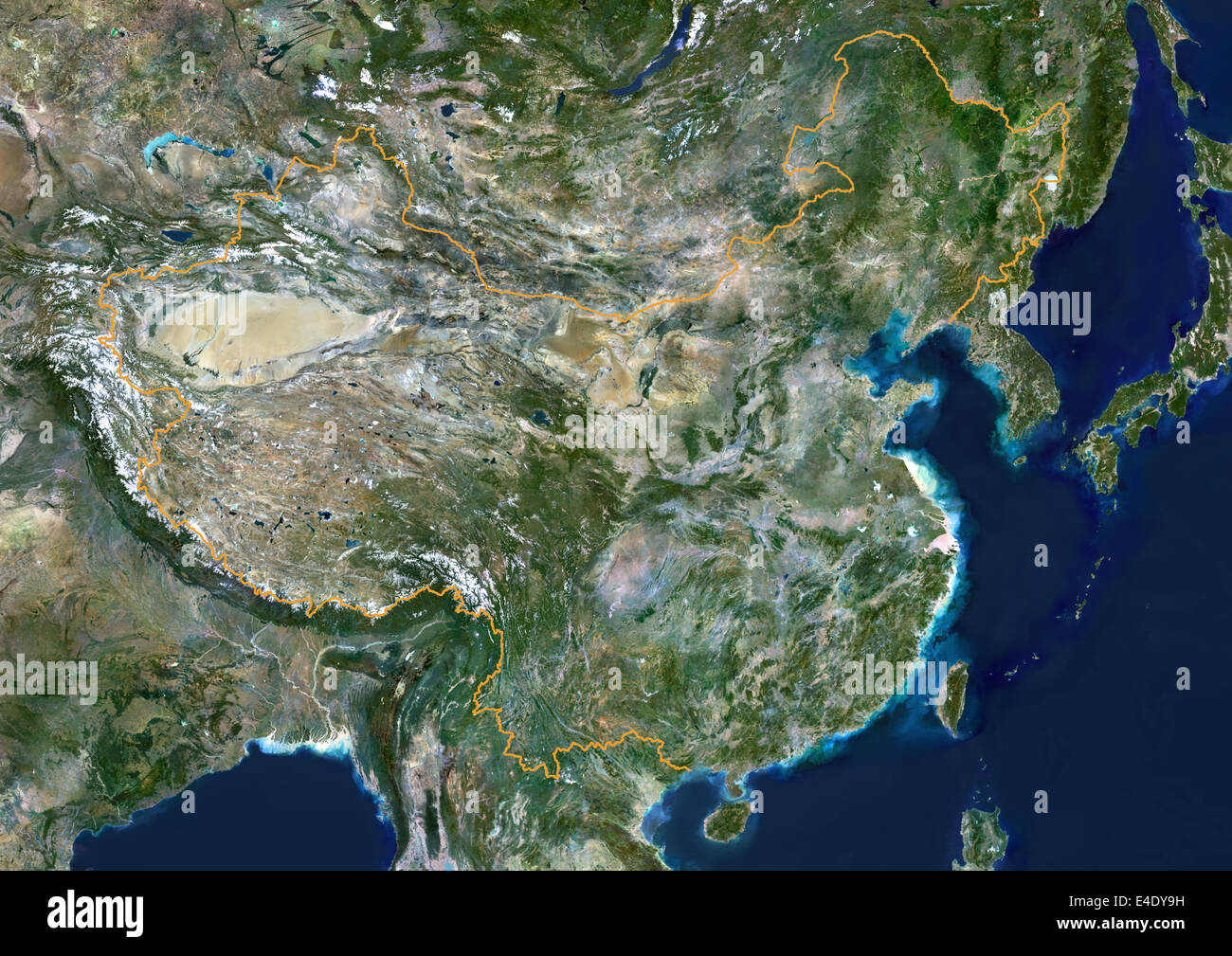 China, True Colour Satellite Image With Border. People's Republic of China, true colour satellite image with - Stock Image