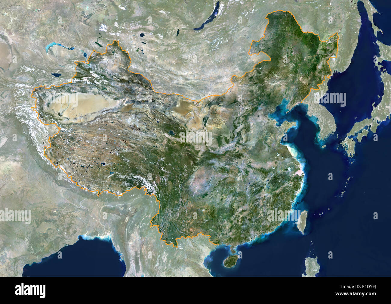 China, True Colour Satellite Image With Mask And Border. People's Republic of China, true colour satellite image - Stock Image
