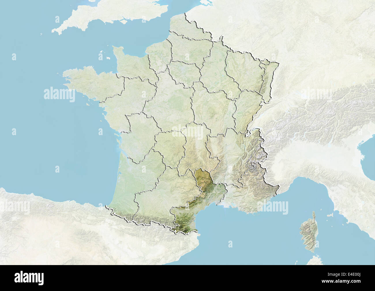 Roussillon France Map.France And The Region Of Languedoc Roussillon Relief Map Stock