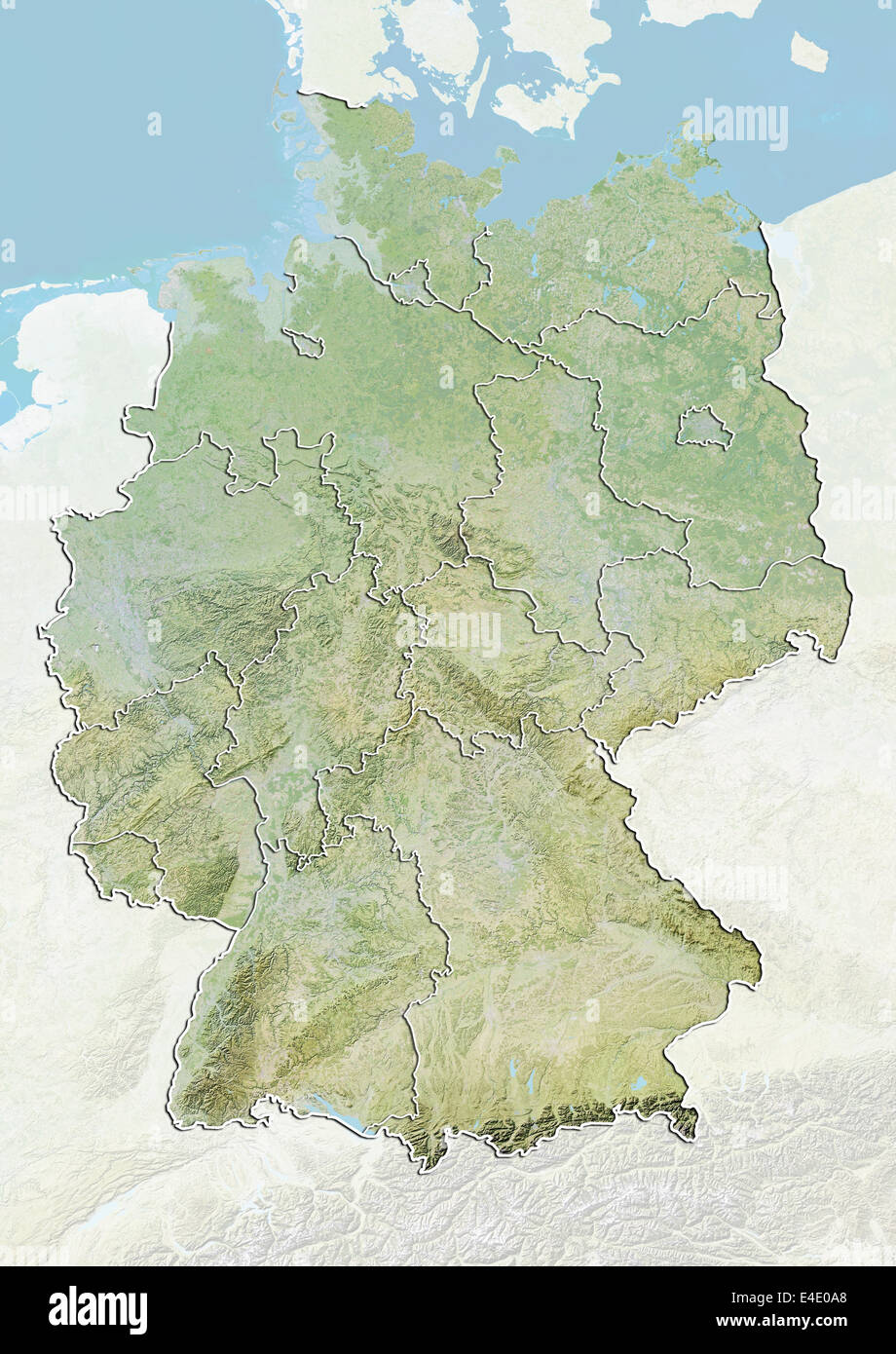 Germany, Relief Map With Boundaries of States Stock Photo