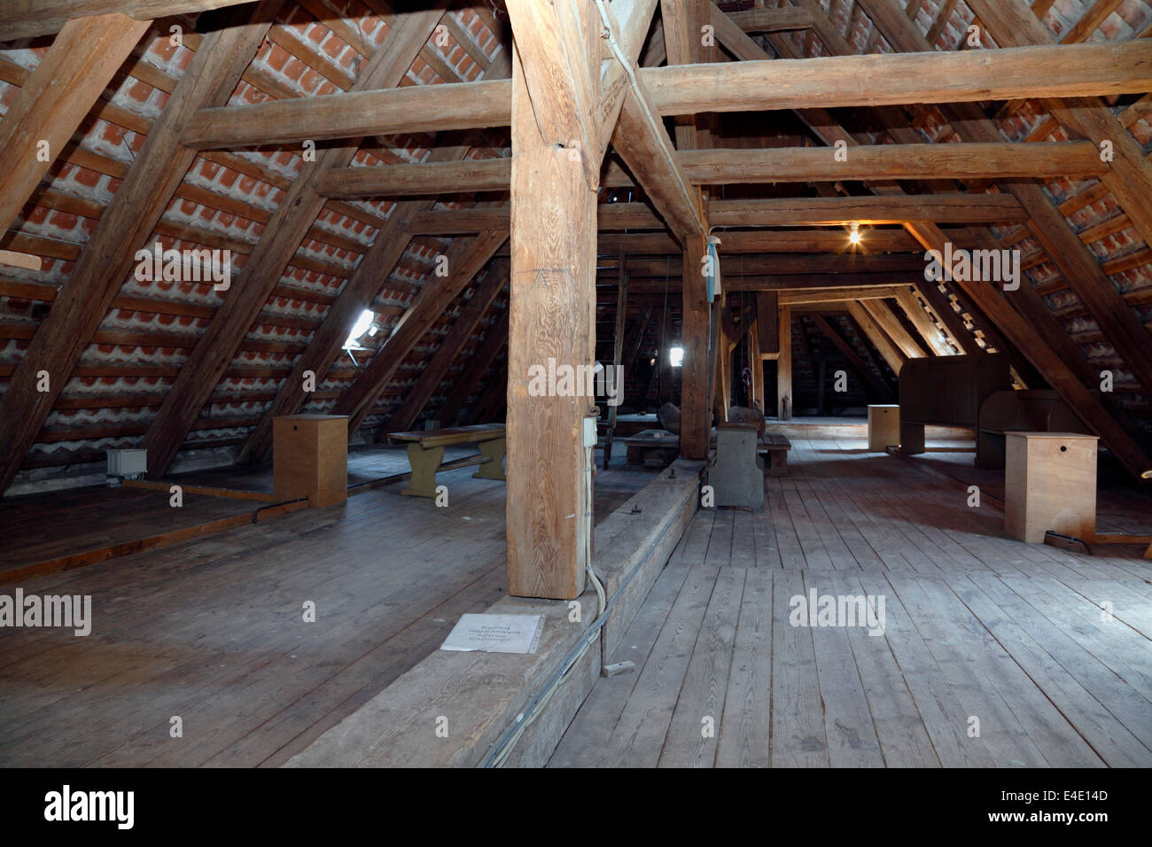 The attic of Gilleleje Church, North Zealand, Denmark. Hiding-place for Jews before being sailed to Sweden during - Stock Image
