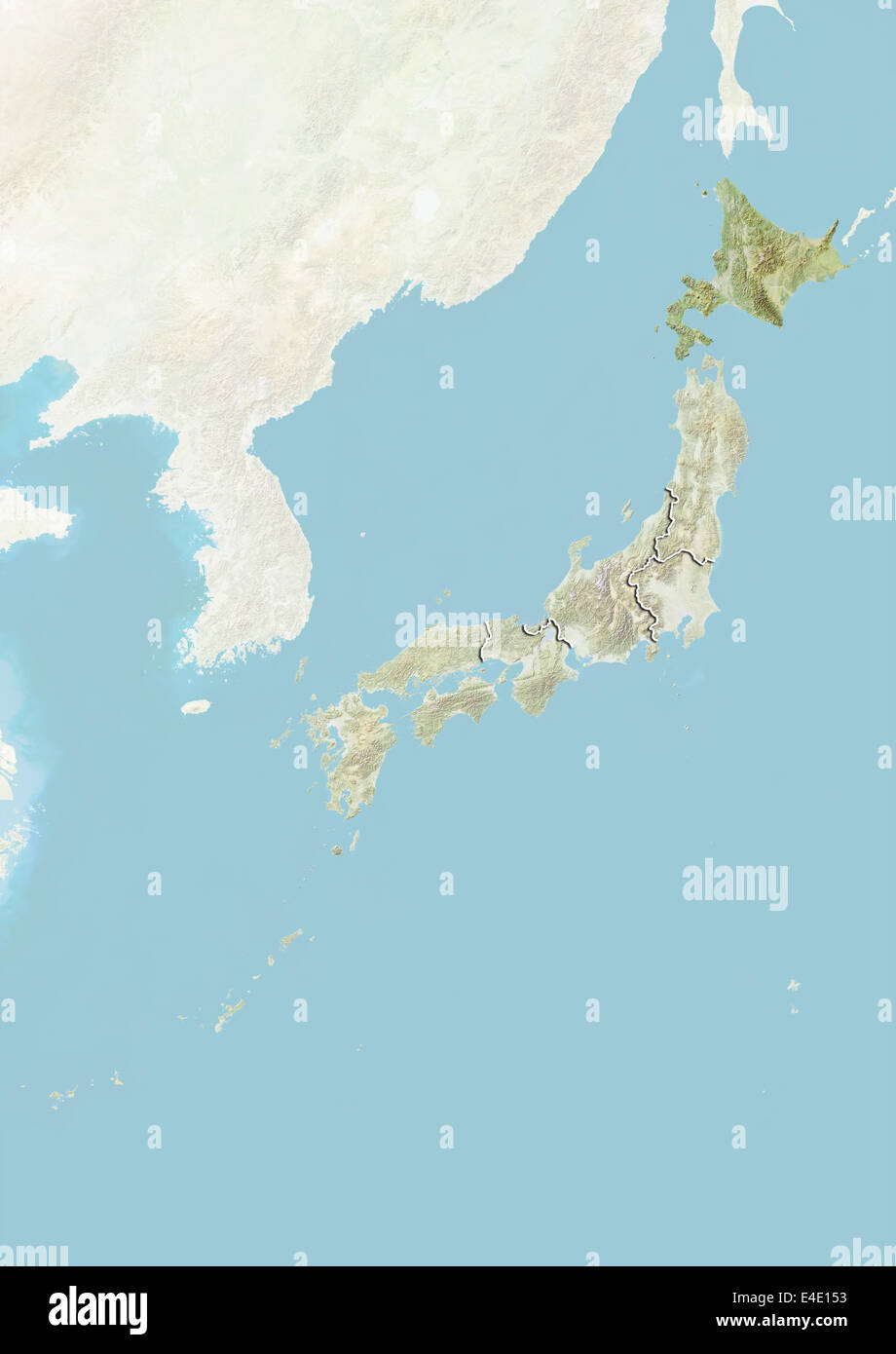 japan and the region of hokkaido relief map stock photo 71608351