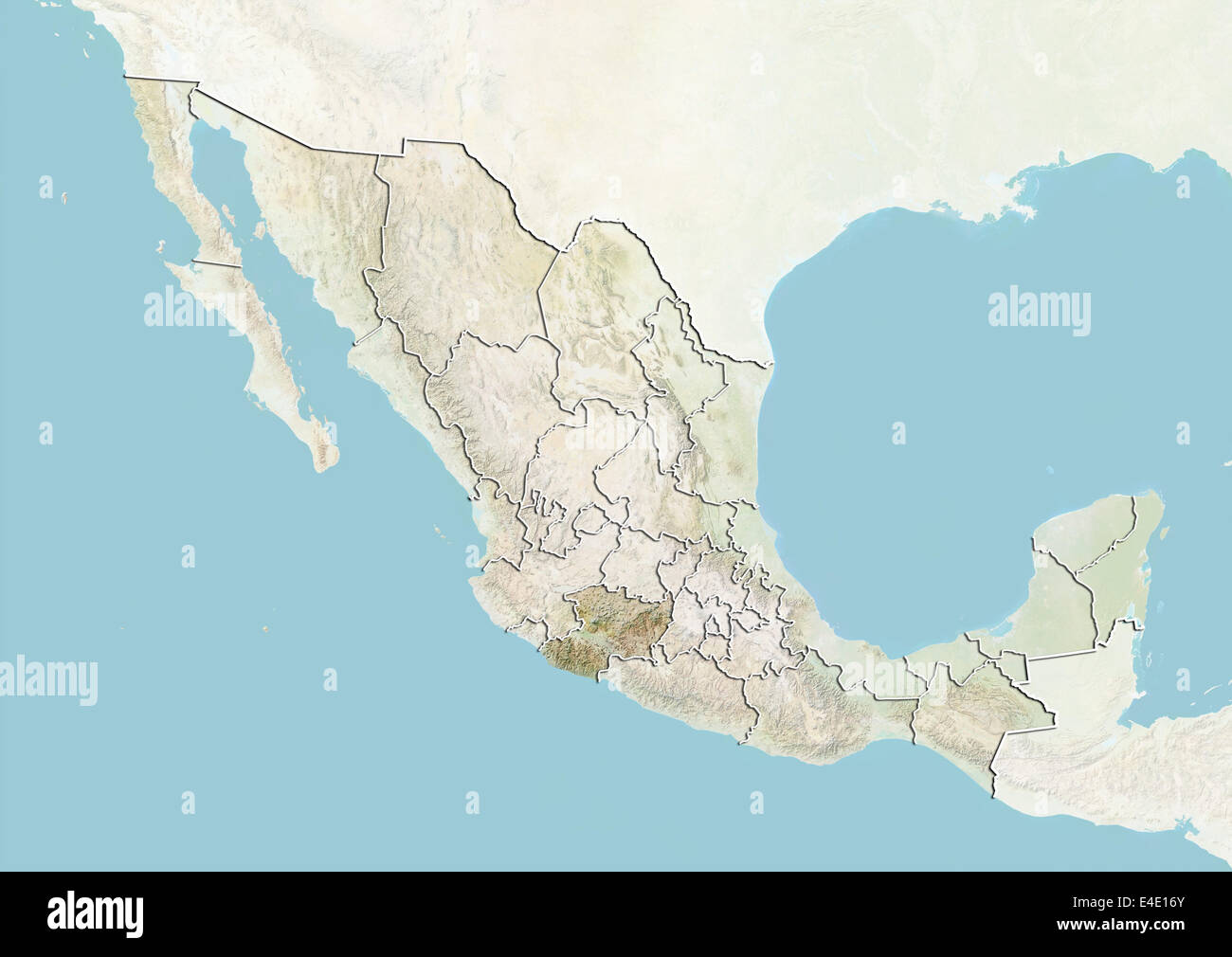Mexico And The State Of Michoacan Relief Map Stock Photo 71608403
