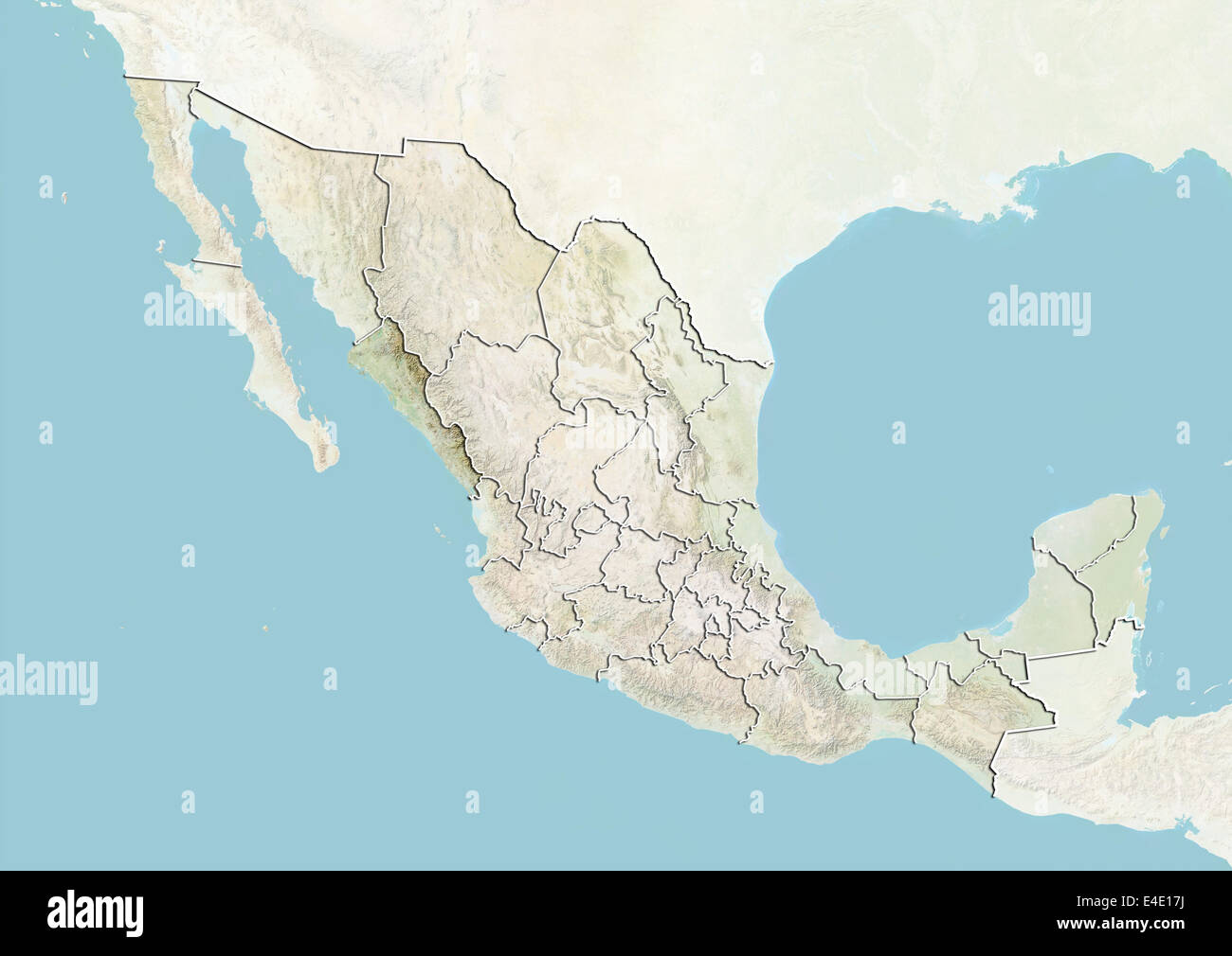 mexico and the state of sinaloa relief map stock image