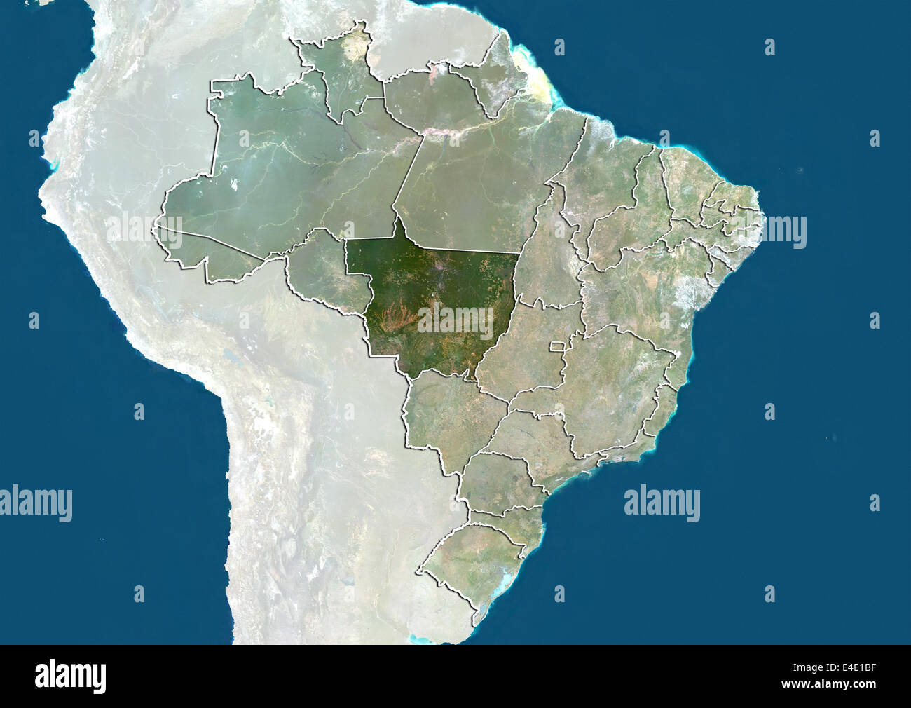 Brazil and the State of Mato Grosso, True Colour Satellite Image Stock Photo