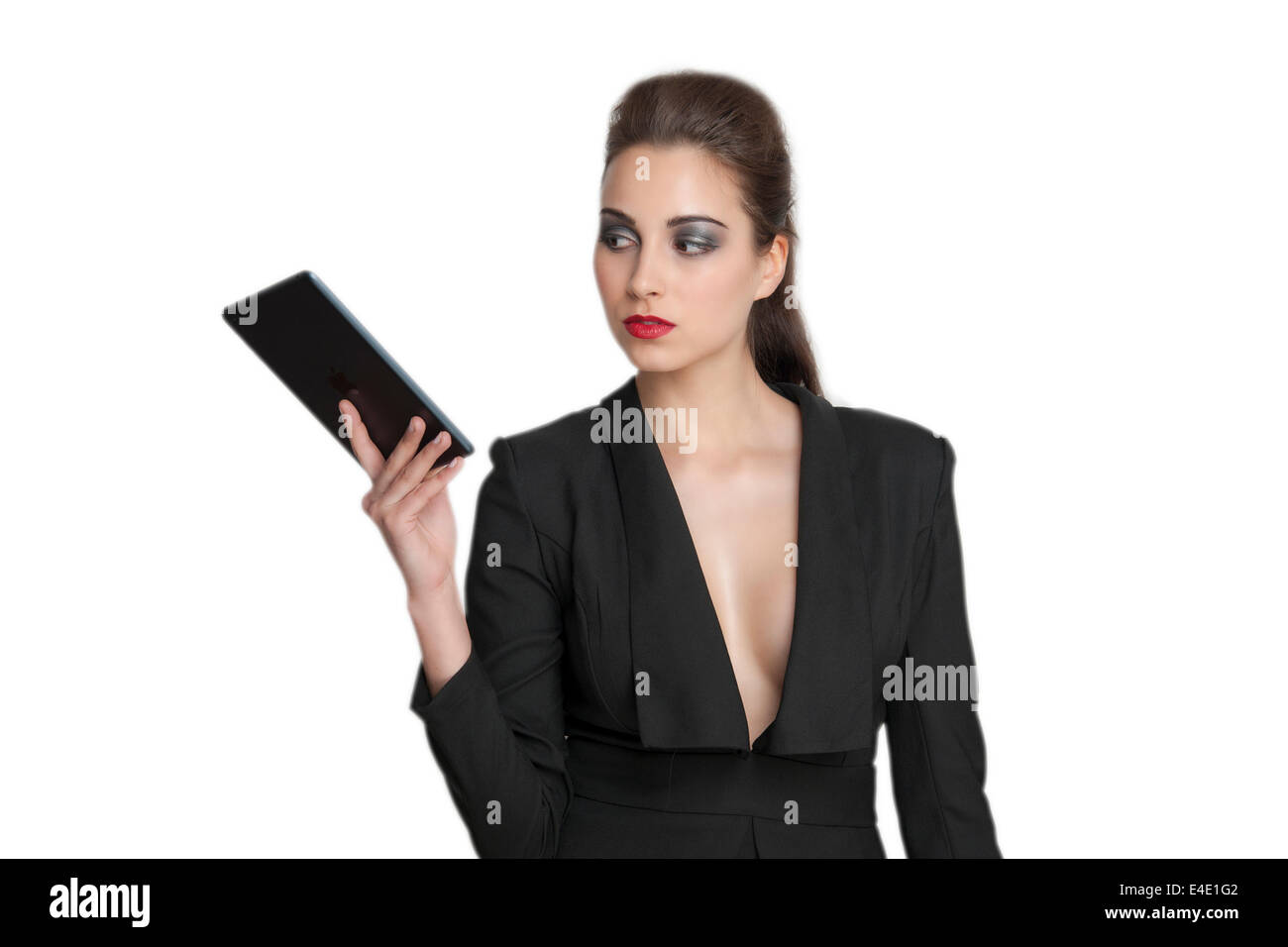 sexy business woman holding an iPad in hand