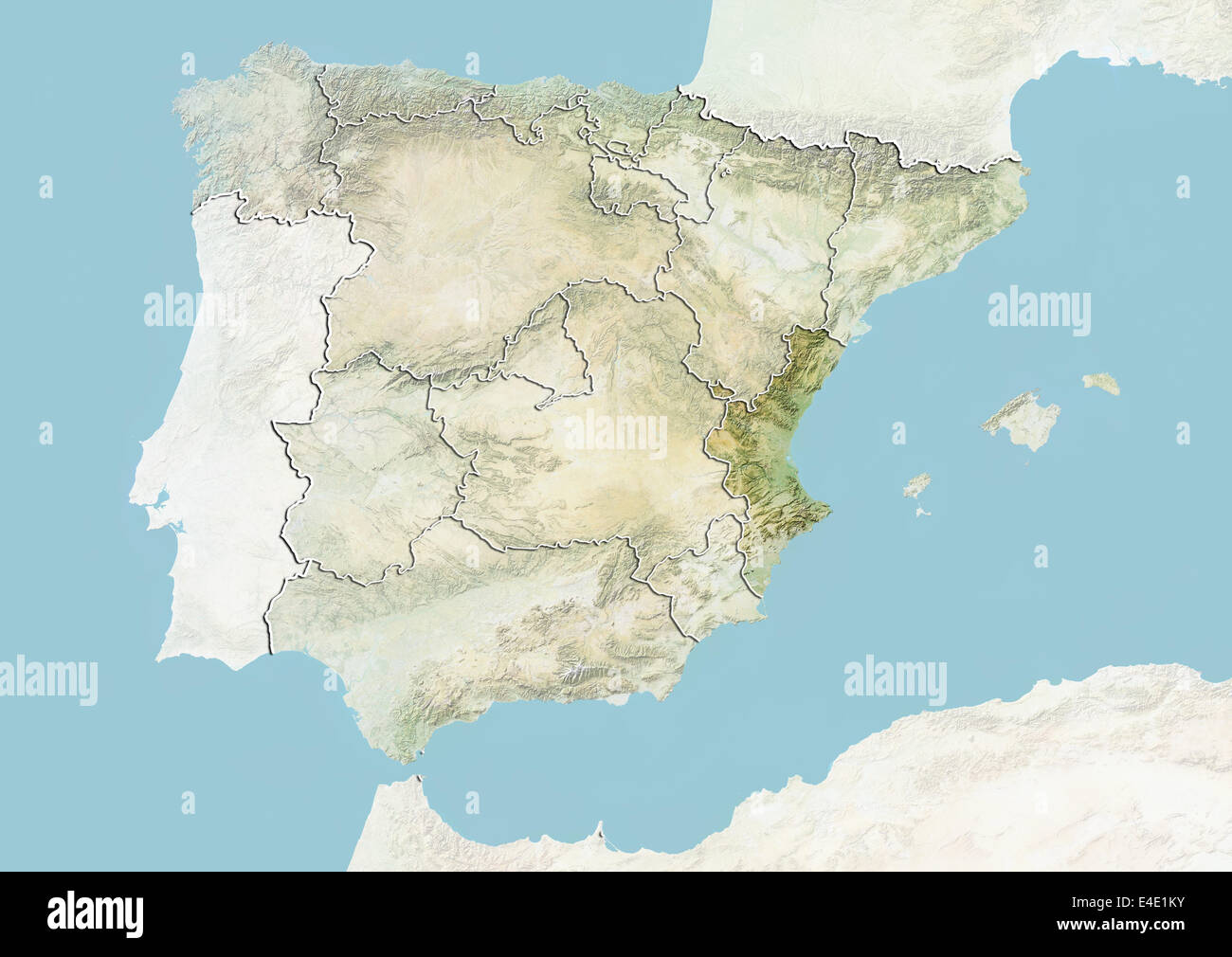 Spain and the Region of Valencia, Relief Map Stock Photo ... on venice italy region map, castilla y leon spain map, spain tourist map, castile map, galicia spain region map, madrid spain region map, barcelona spain region map, hong kong china region map, rioja spain wine region map,