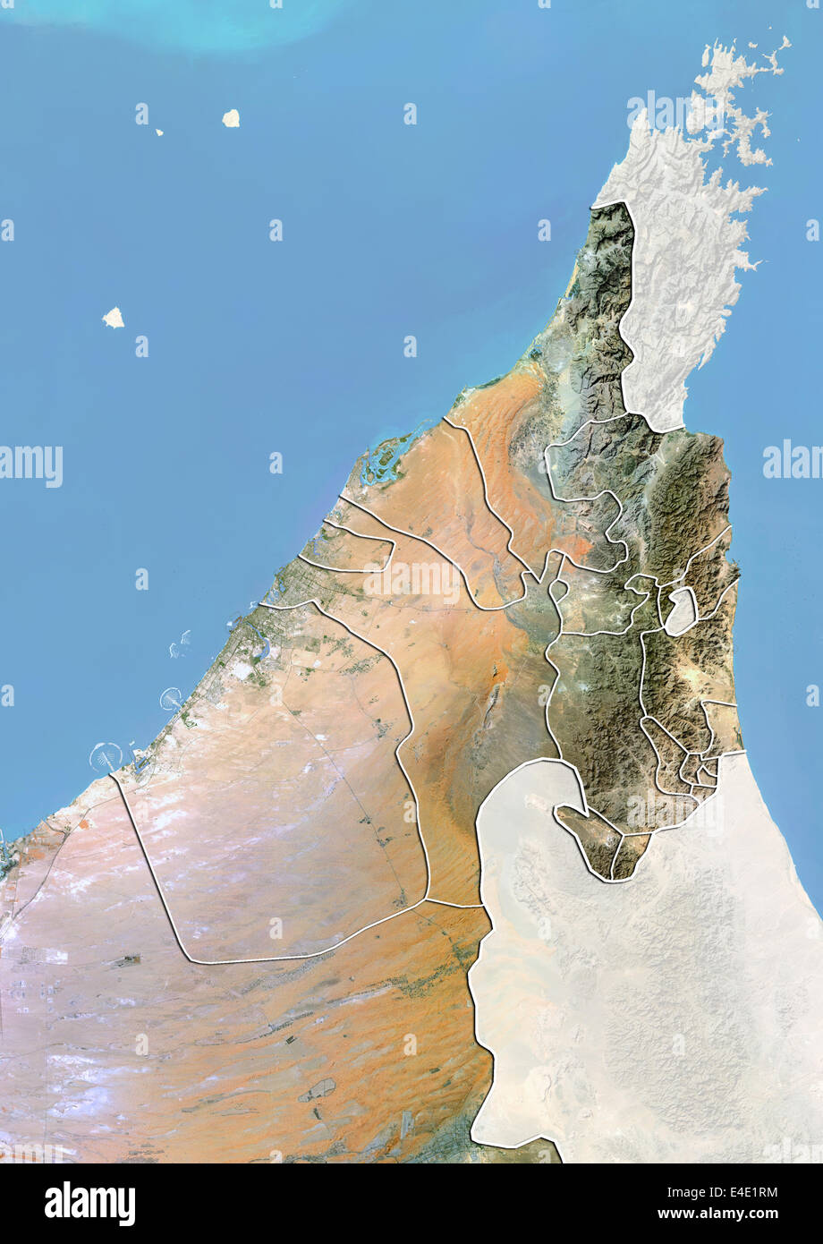 the emirates of dubai and sharjah and northern uae satellite image with bump effect