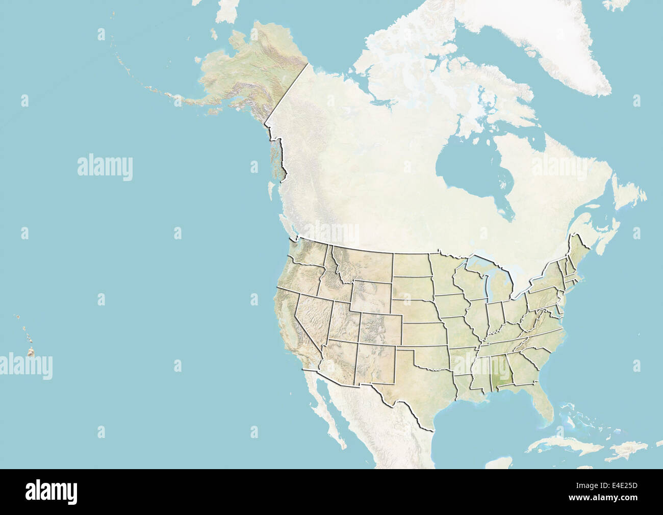 United States And The State Of Alabama Relief Map Stock Photo