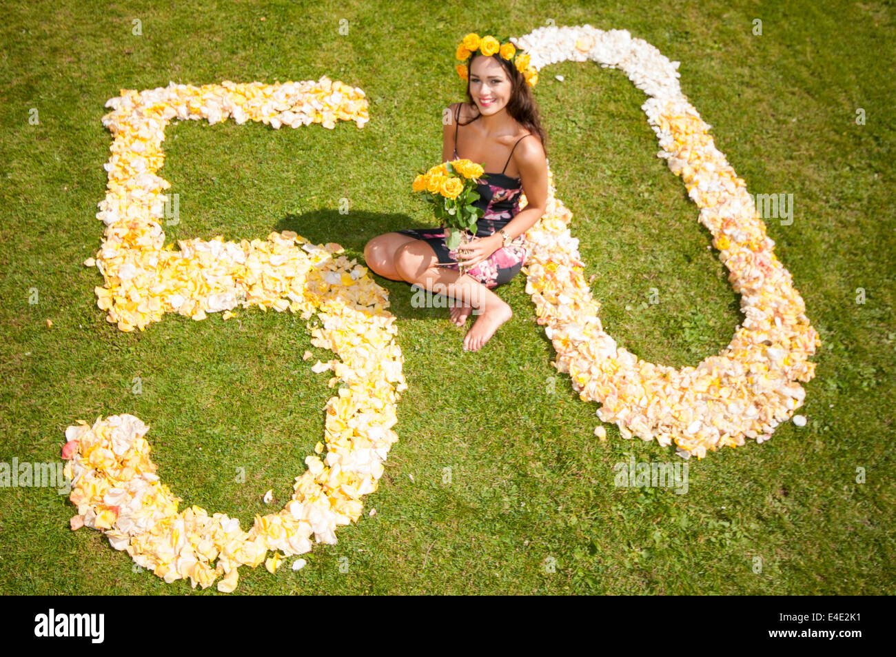 Belfast, Northern Ireland. 9 Jul 2014 - Rebekah Shirley, Miss Northern Ireland 2014, launches Rose Week. This year - Stock Image