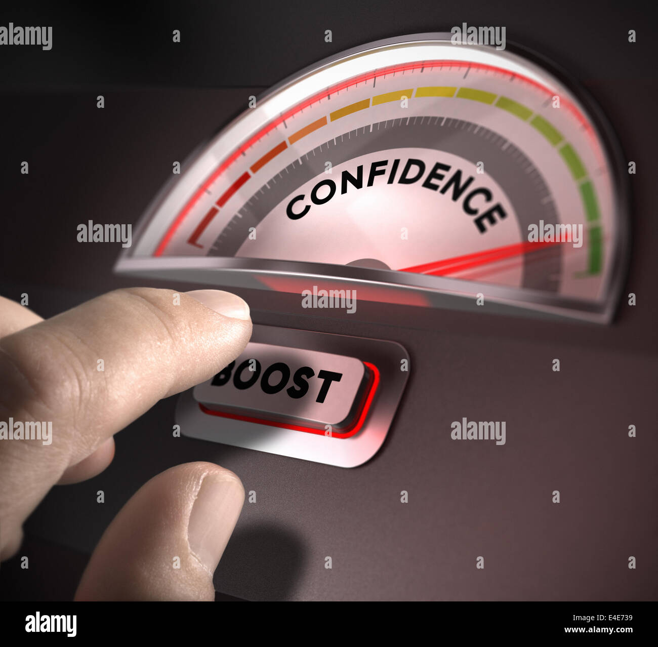 confidence indicator dial, index and boost button over a dark background. Illustration of self-confidence or esteem - Stock Image