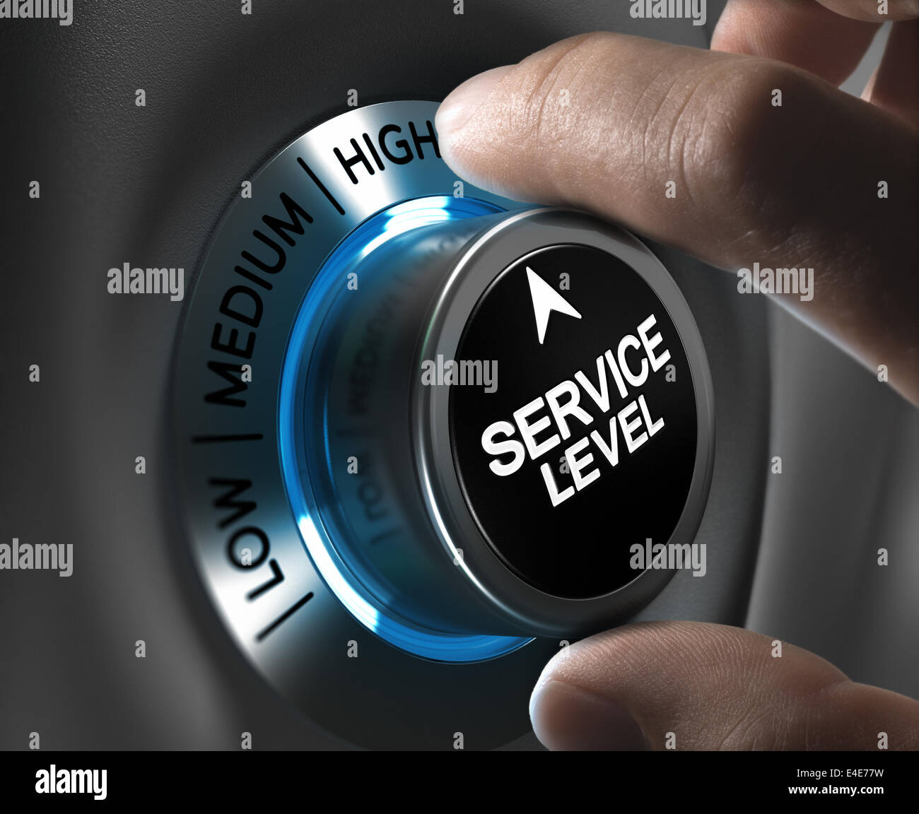 Button service level pointing the high position with blur effect plus blue and grey tones. Conceptual image for - Stock Image
