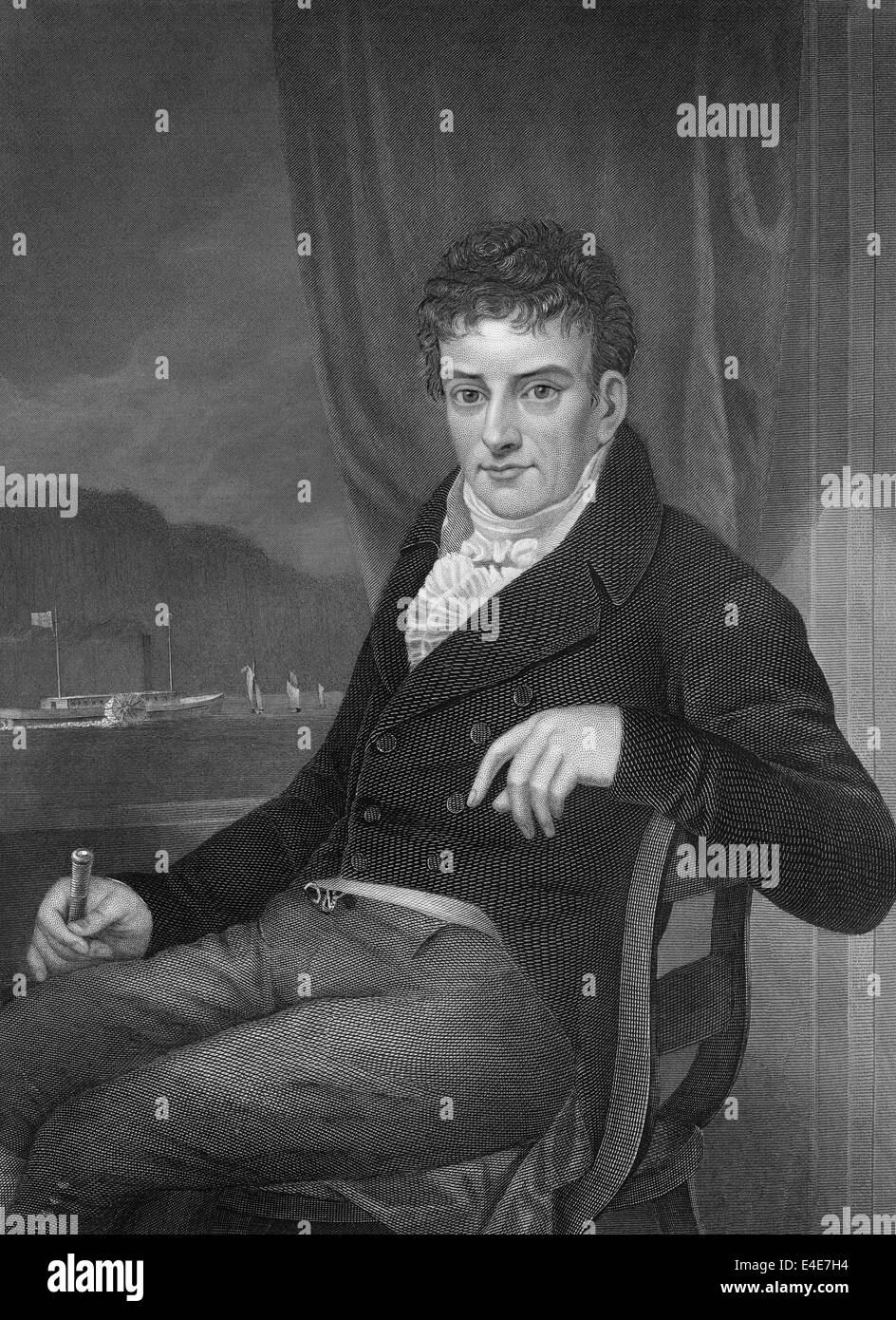 portrait of Robert Fulton, 1765 - 1815, an engineer who built steamboats and the submarine Nautilus, - Stock Image