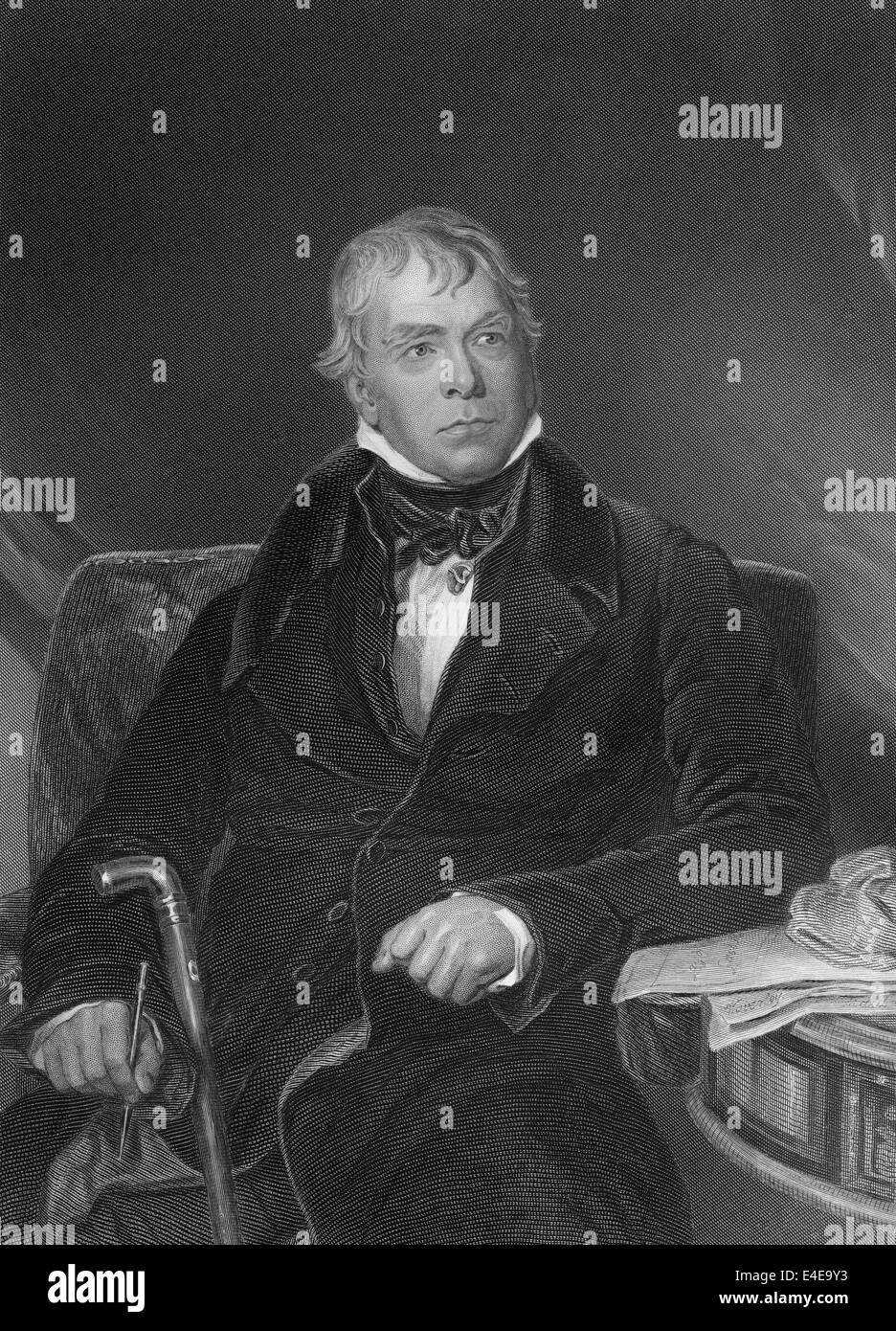 Sir Walter Scott, 1st Baronet of Abbotsford, 1771 - 1832, a Scottish poet and writer, - Stock Image