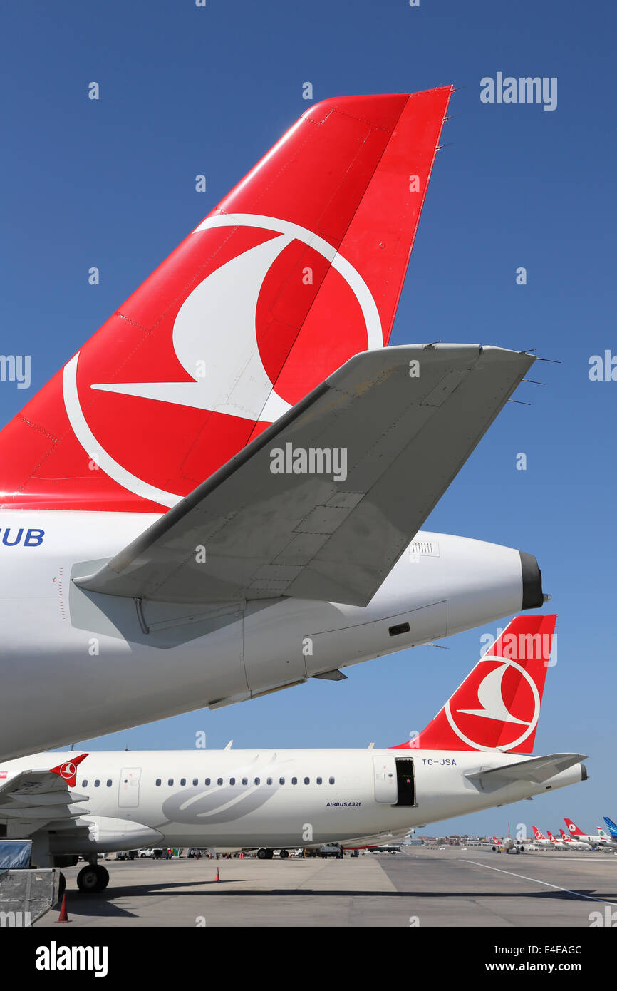 Istanbul, Turkey - May 15, 2014: Tails of Turkish Airlines airplanes at Istanbul Atatürk International Airport - Stock Image