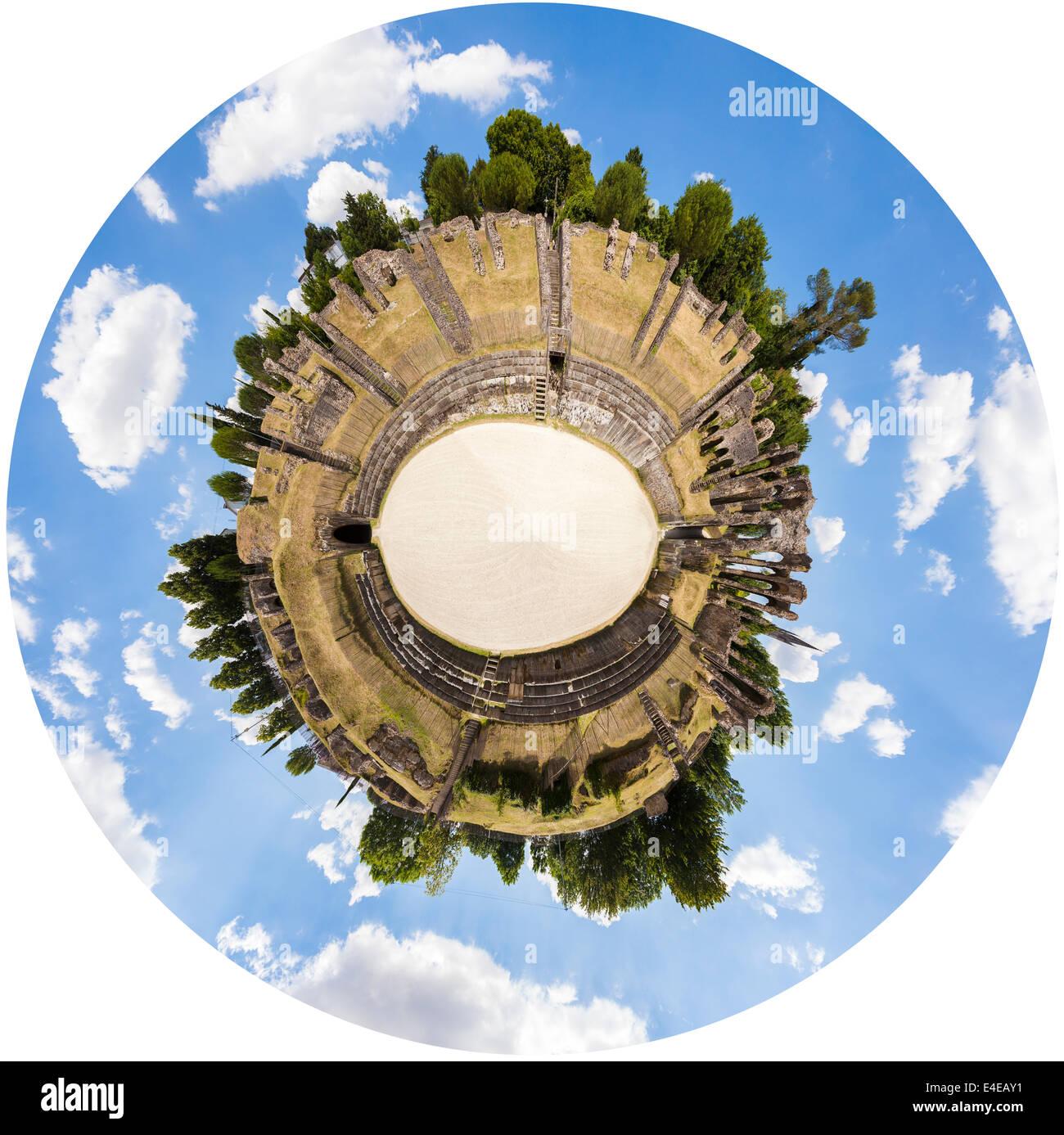 Digitally created birds eye view of the Roman amphitheatre in Saintes. - Stock Image