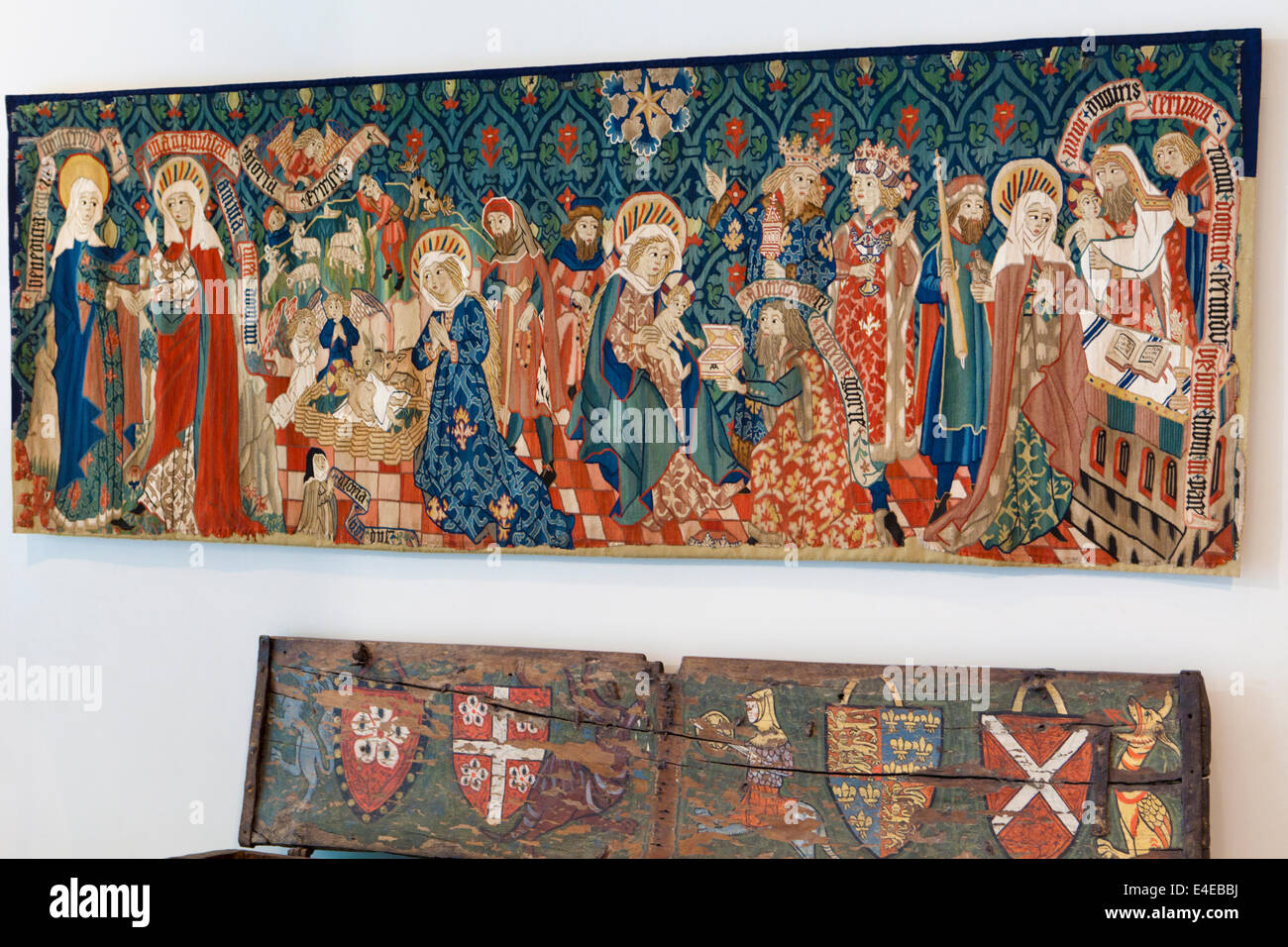A fifteenth century altar frontal showing 'Scenes from the Life of the Virgin Mary' in the Burrell Collection, - Stock Image