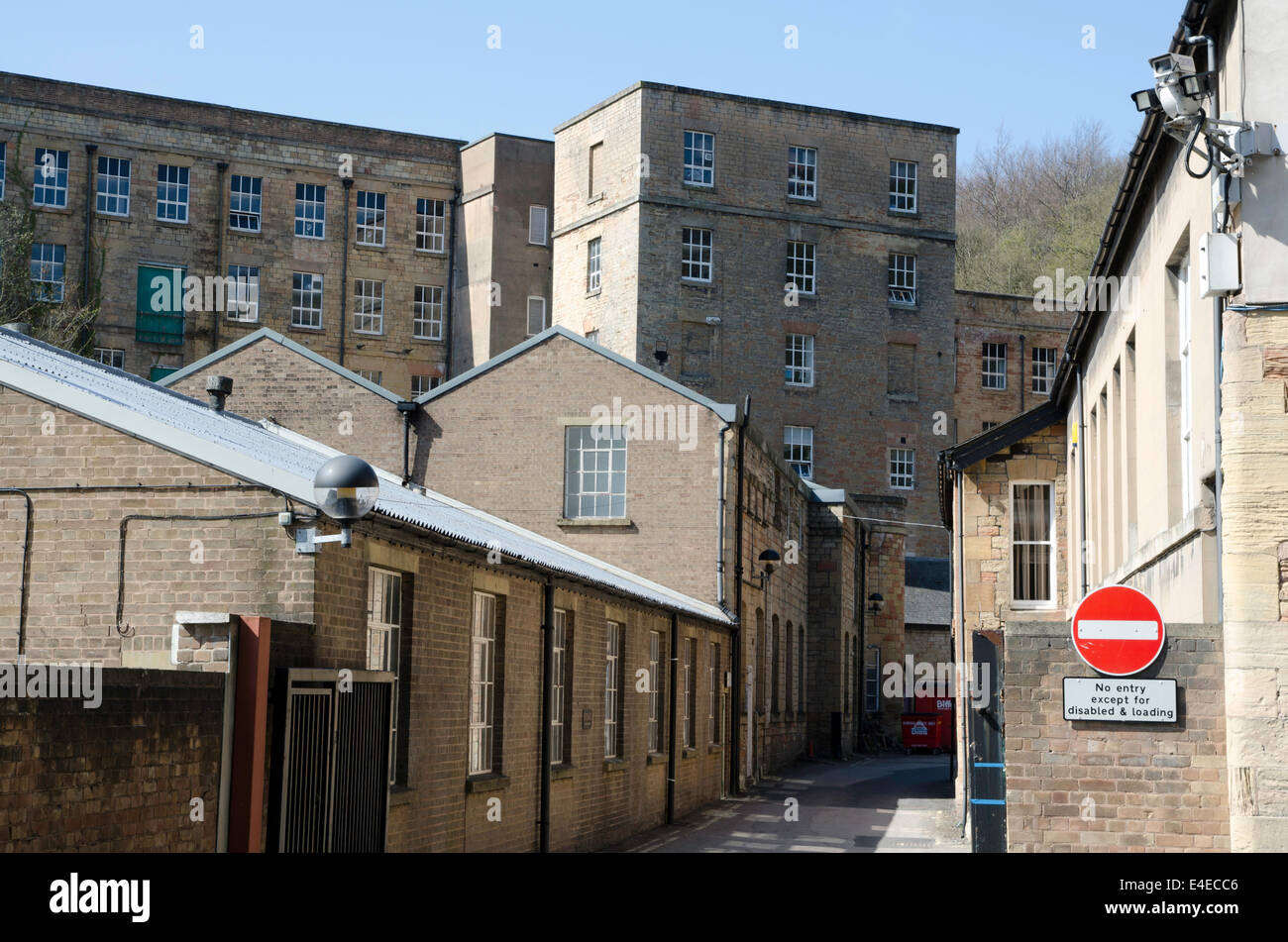 19th century water powered cotton mills, Pleasley Vale. Notts - Stock Image