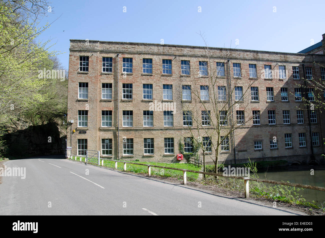 Pleasley Vale Mills, 19th century water powered cotton mill - Stock Image