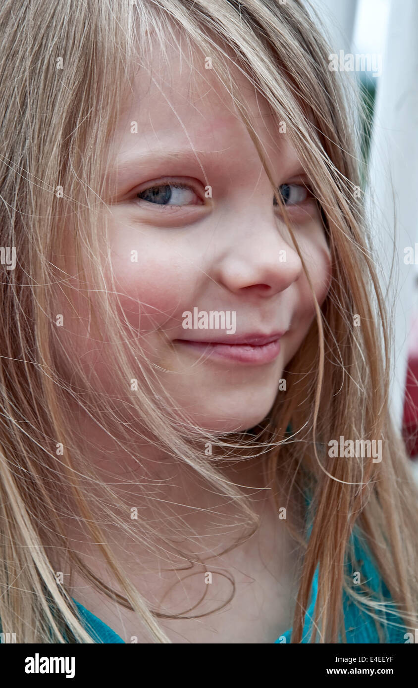 This Cute 5 Year Old Girl Portrait Is A Closeup Of Her Face She Is