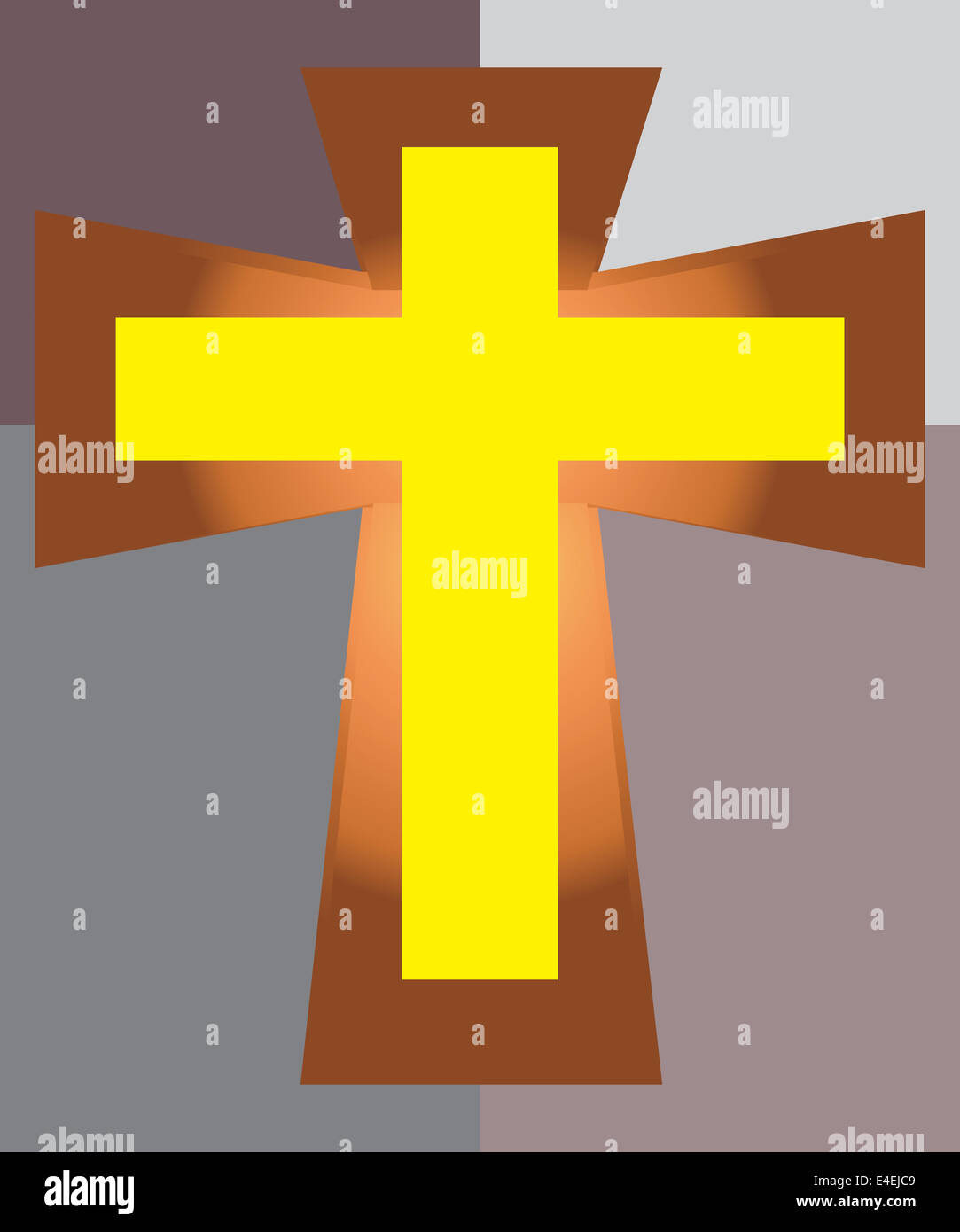 Vector of Yellow Jesus Cross on Two Tone Background. Stock Photo